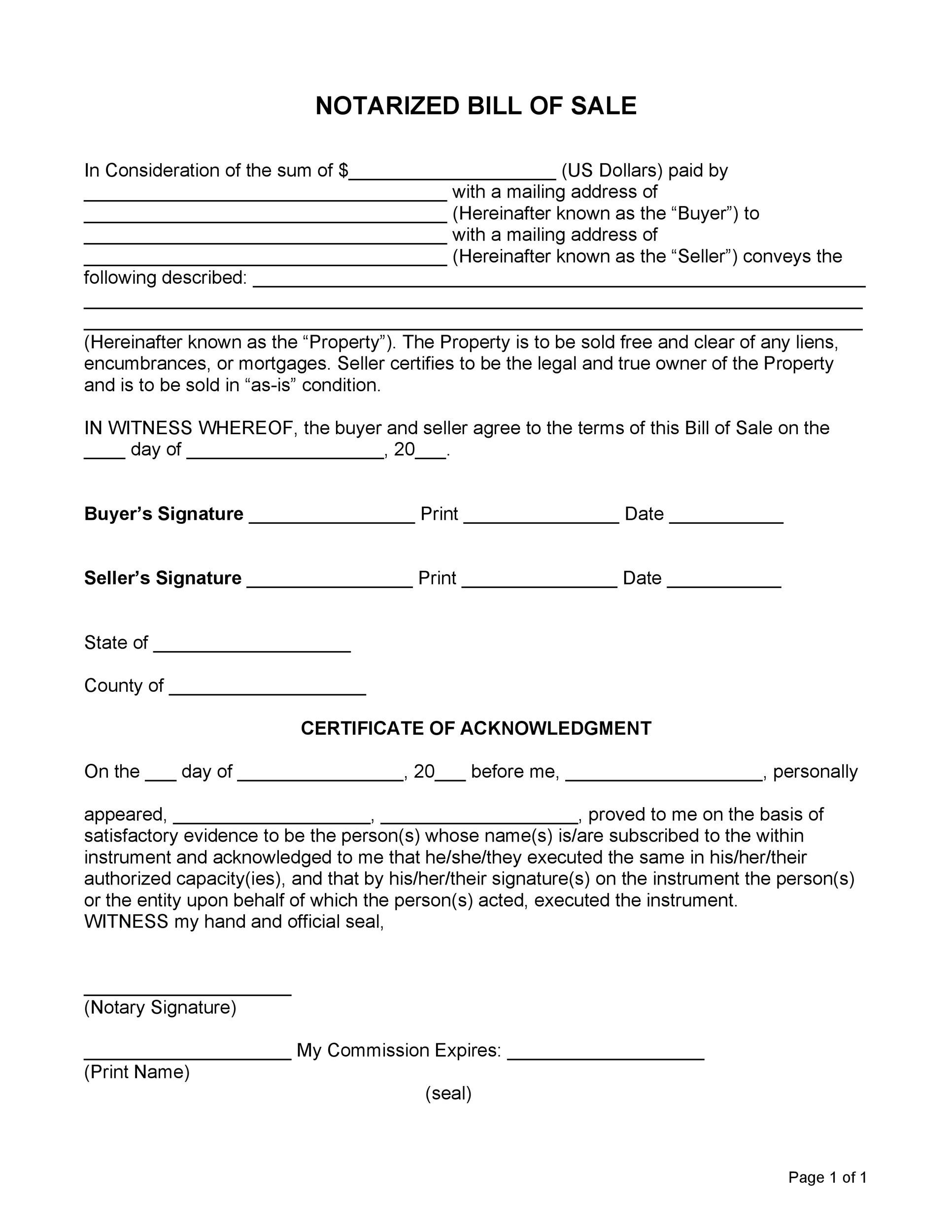 Free notary acknowledgement 28