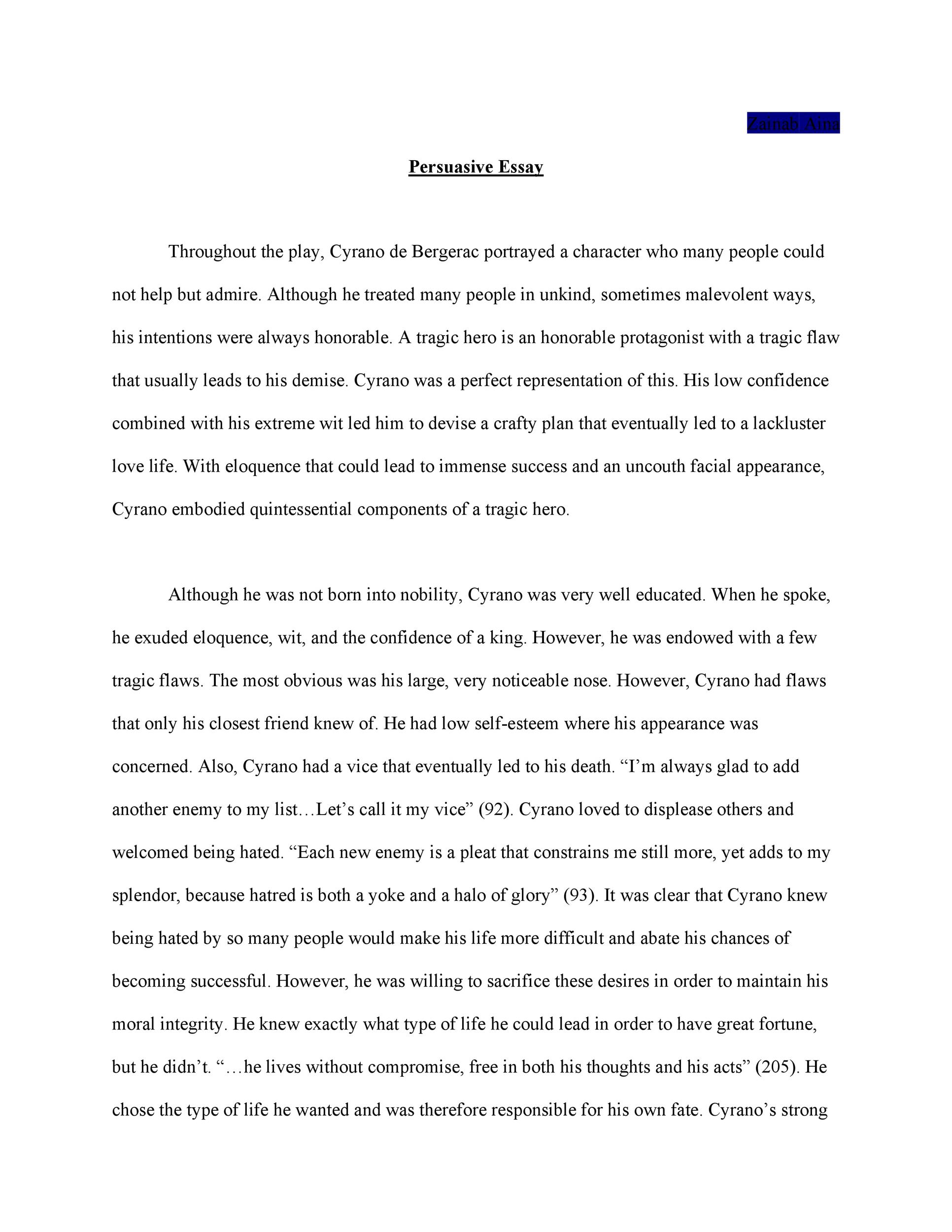 Essays Marked By Teachers  Sportsmanship Essay also Easy Persuasive Essay Topics  Free Persuasive Essay Examples Best Topics  Template Lab Green Earth Essay