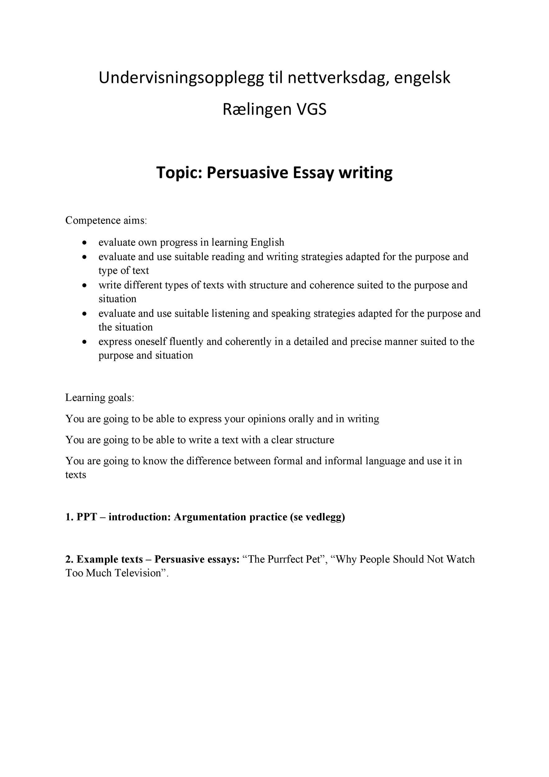 Persuassive essay ideas