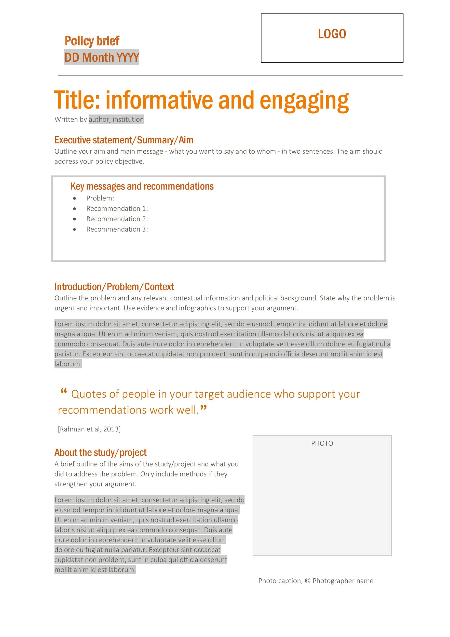 Free policy brief template 02