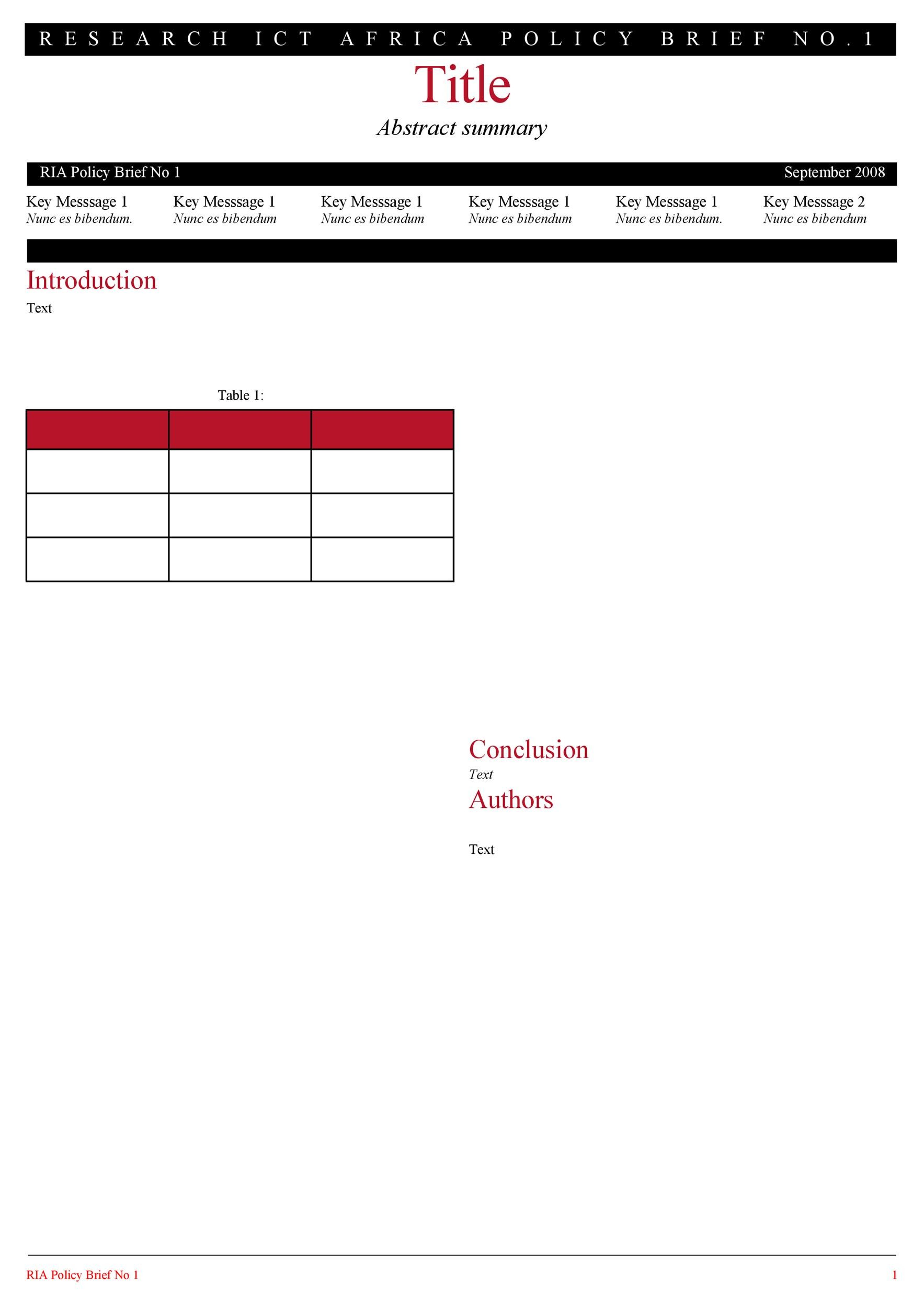 Free policy brief template 44