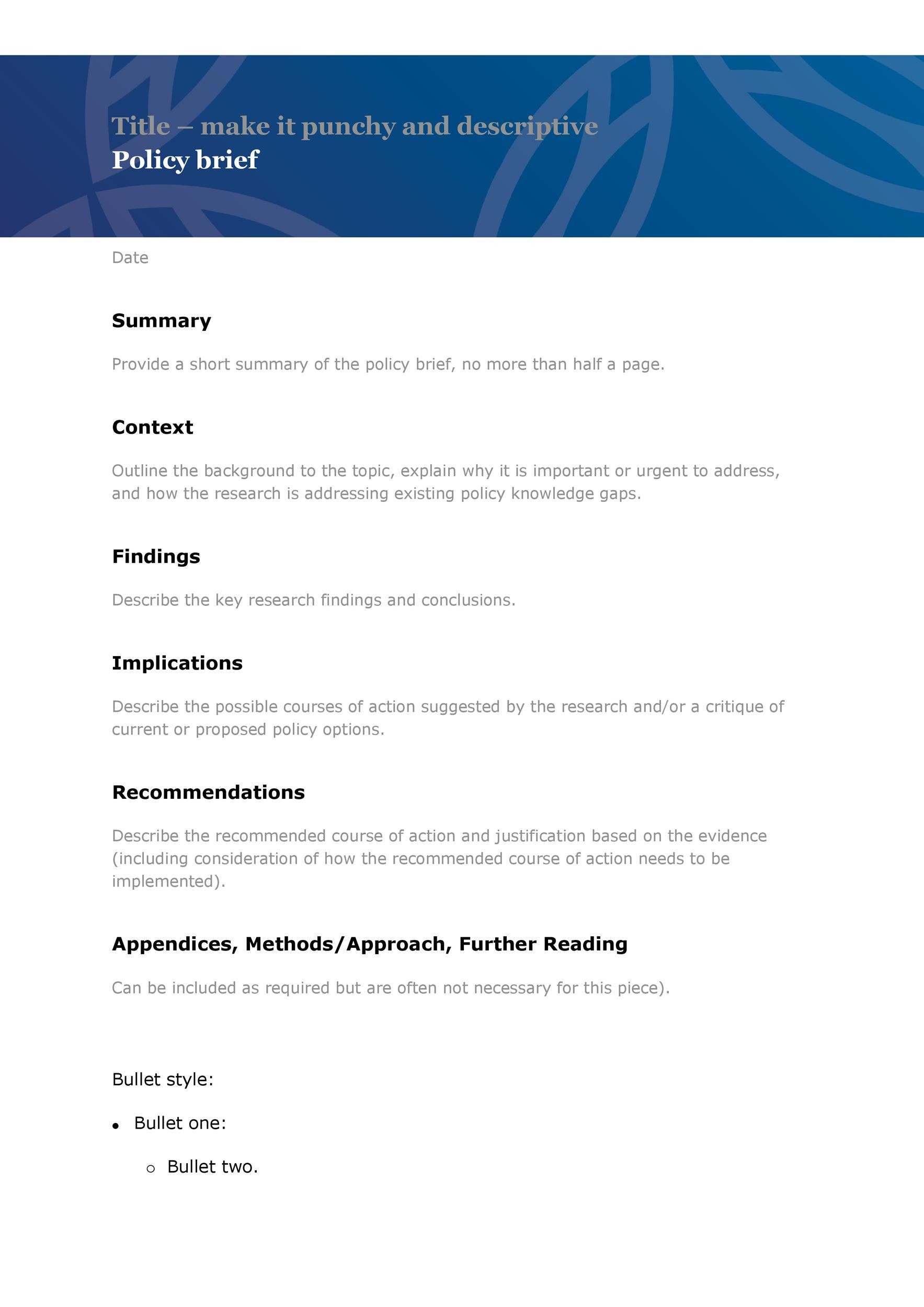 Free policy brief template 45