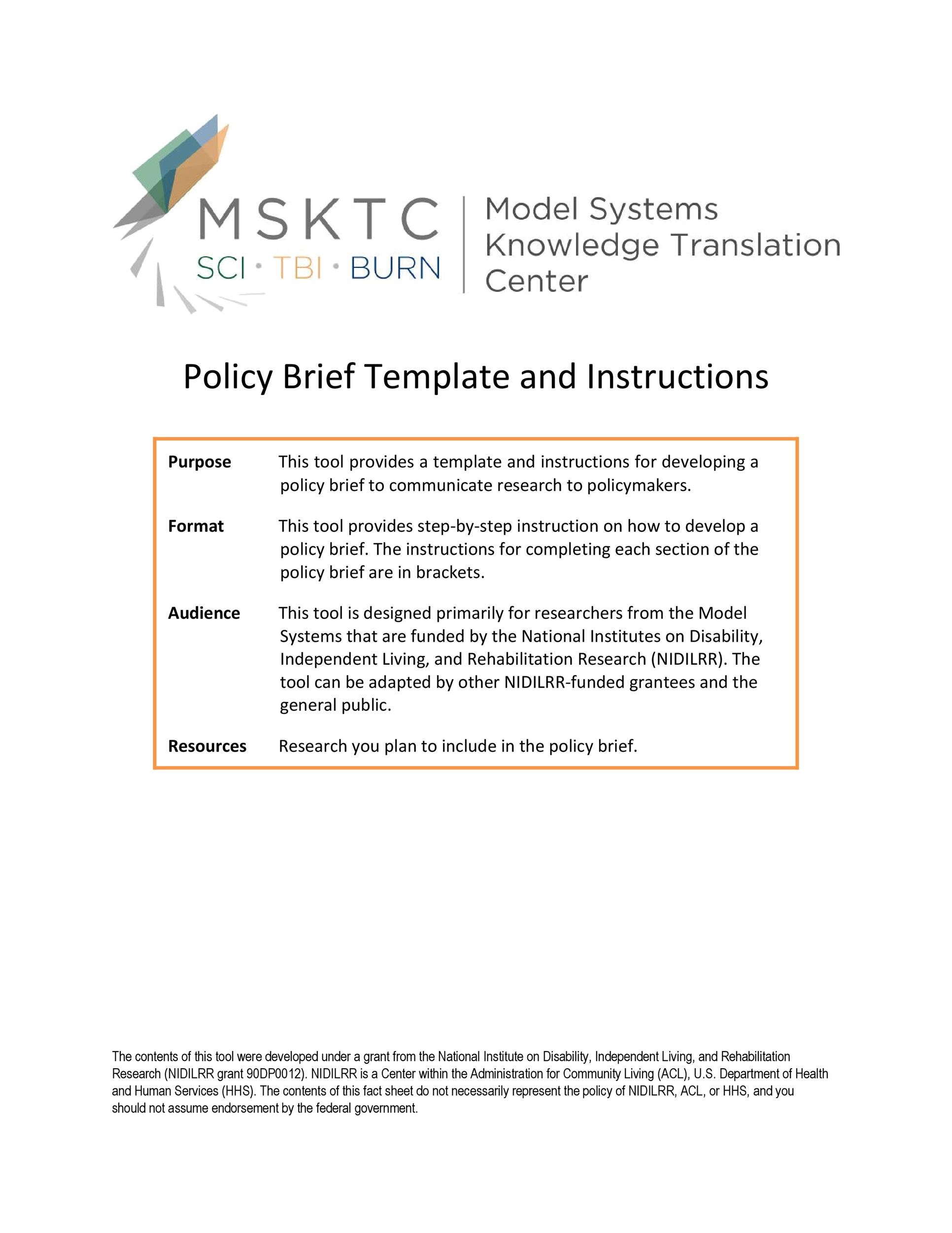 Free policy brief template 50