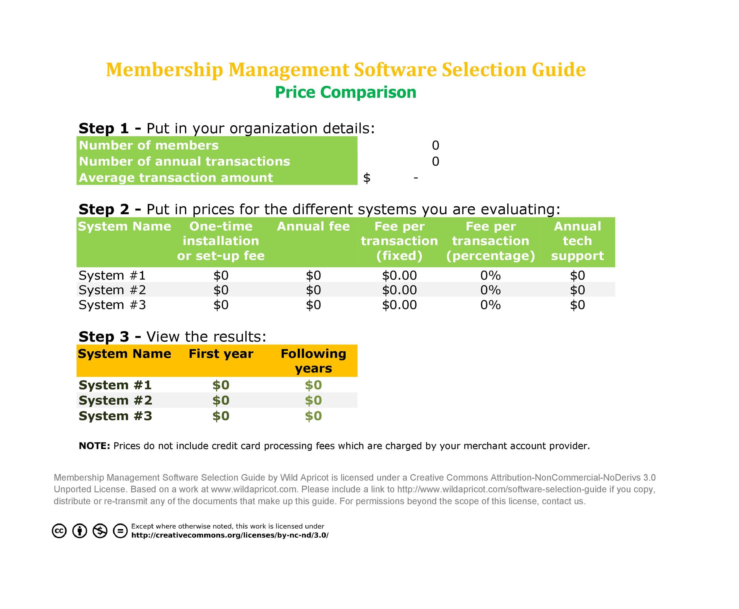 Free price comparison template 09