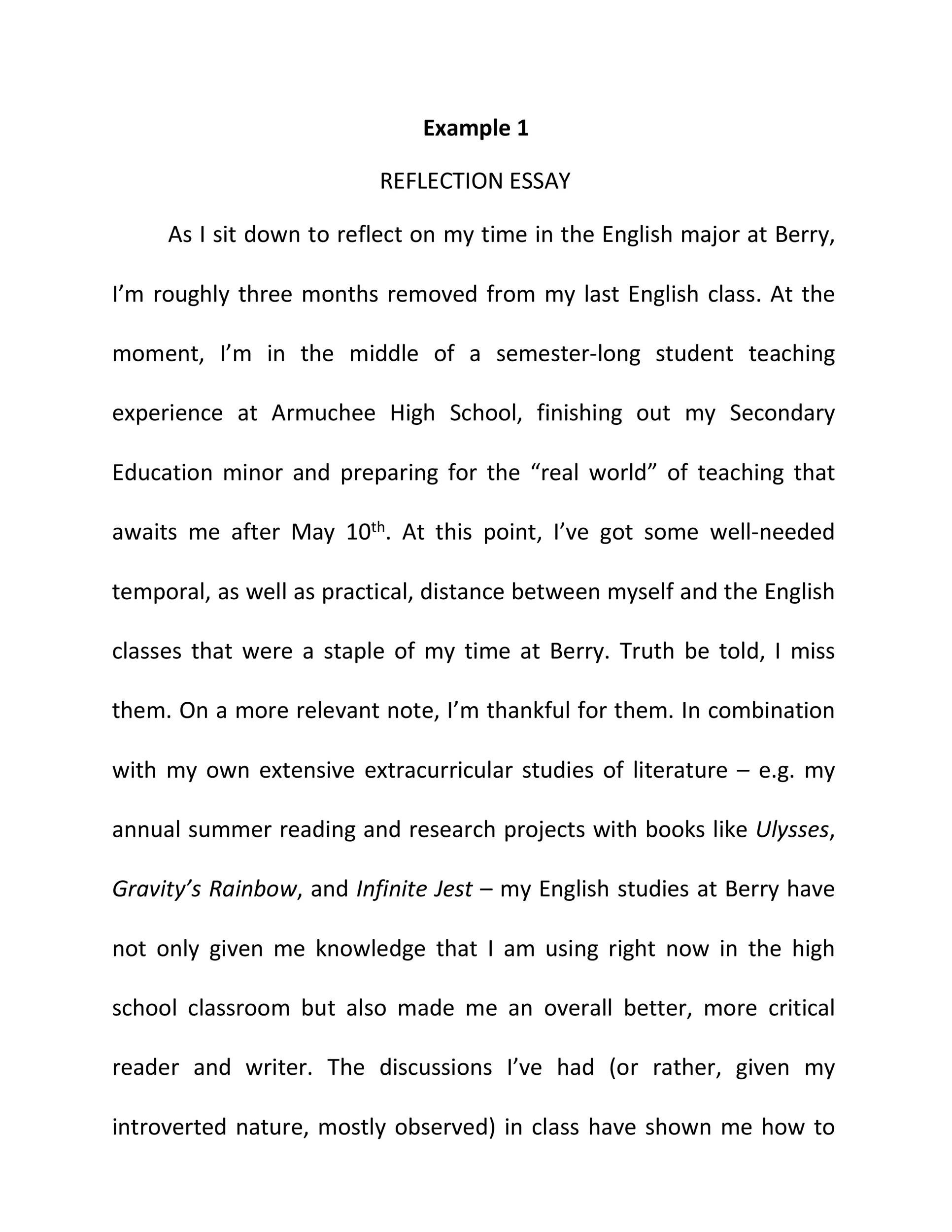 Science Vs Religion Essay  Written Essay Papers also Essay About Literature Example  Best Reflective Essay Examples Topic Samples   First Day Of High School Essay