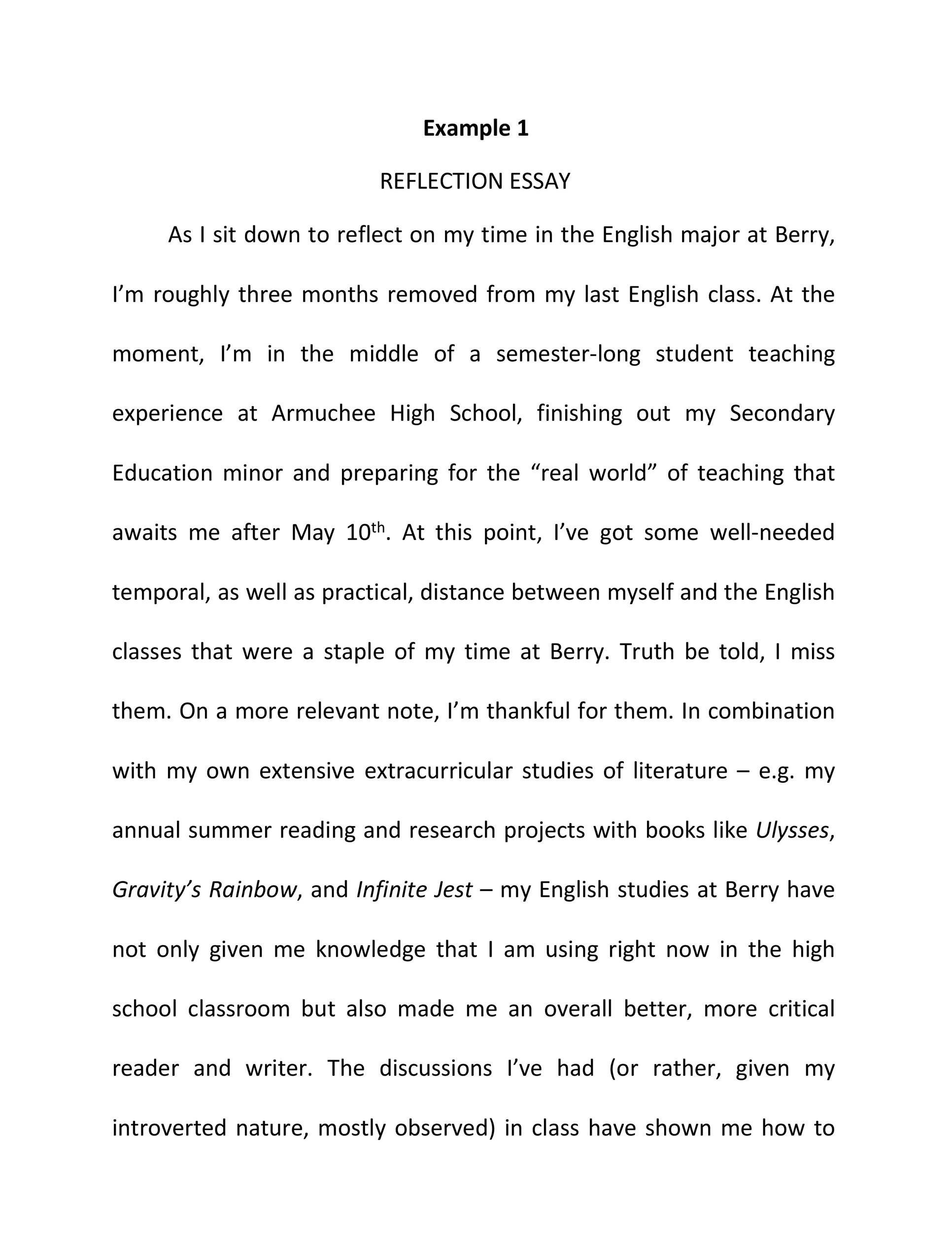 Free reflective essay example 01