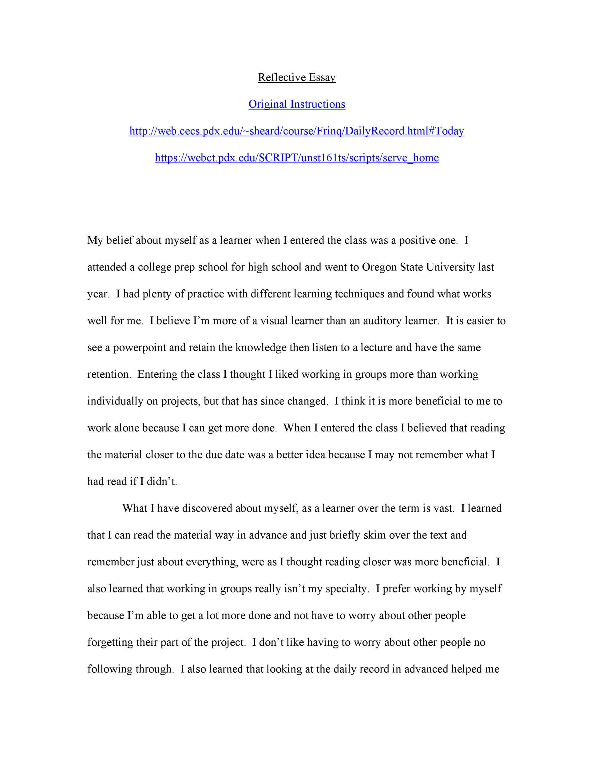 Reflection essay about a class