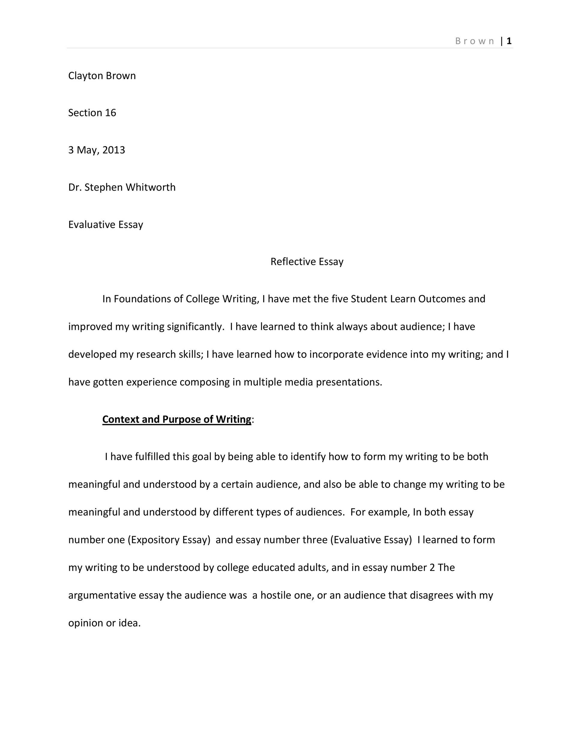 Free reflective essay example 08
