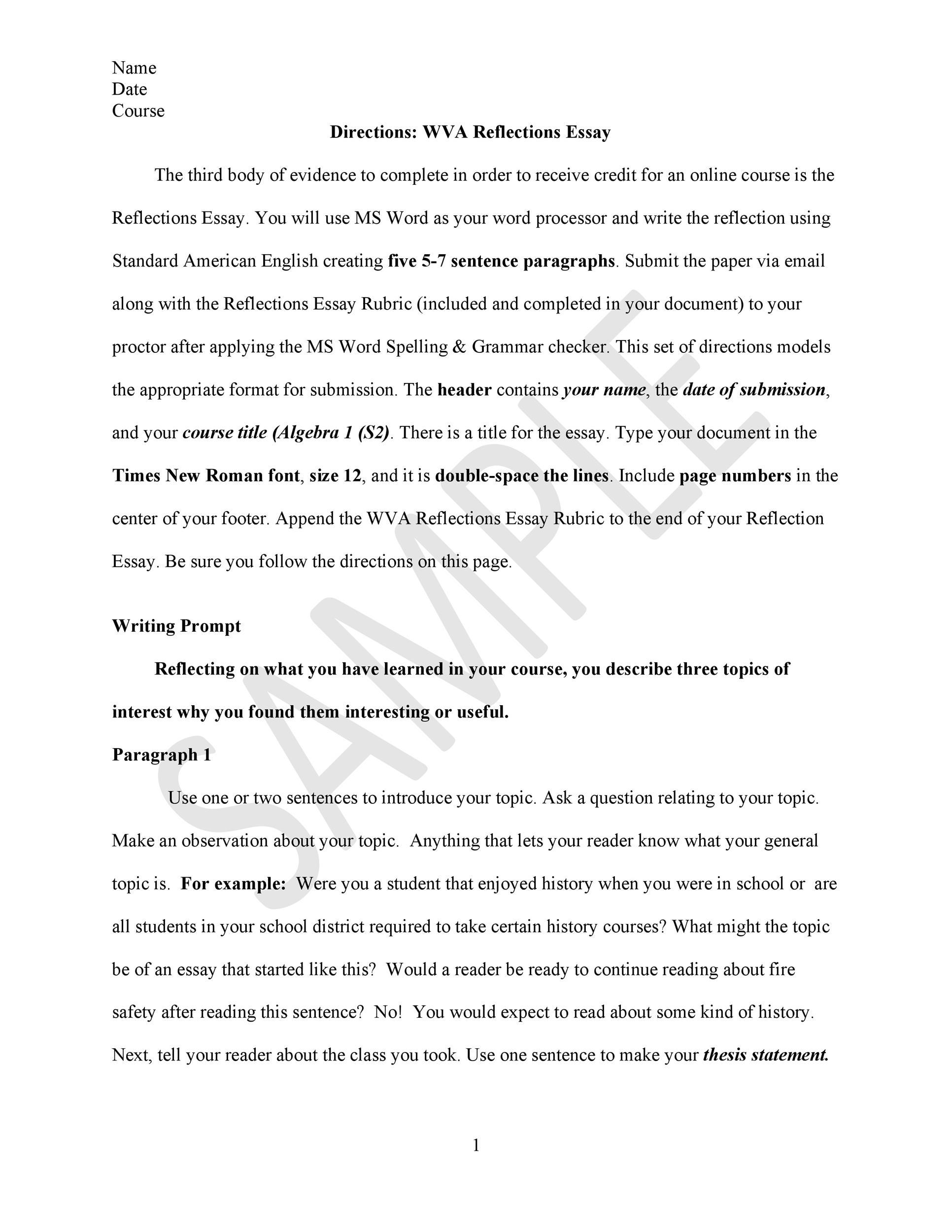 Free reflective essay example 10