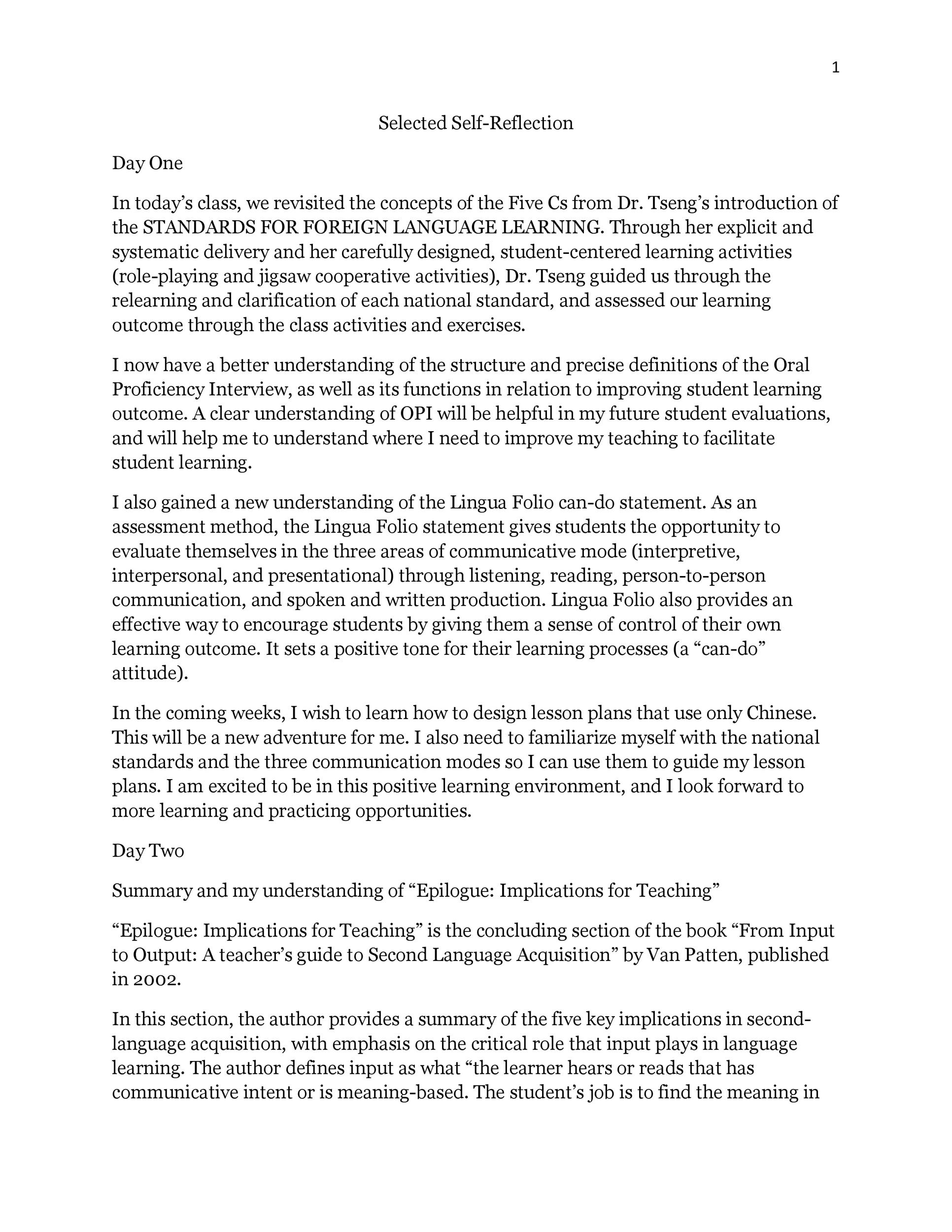 Writing reflective essays