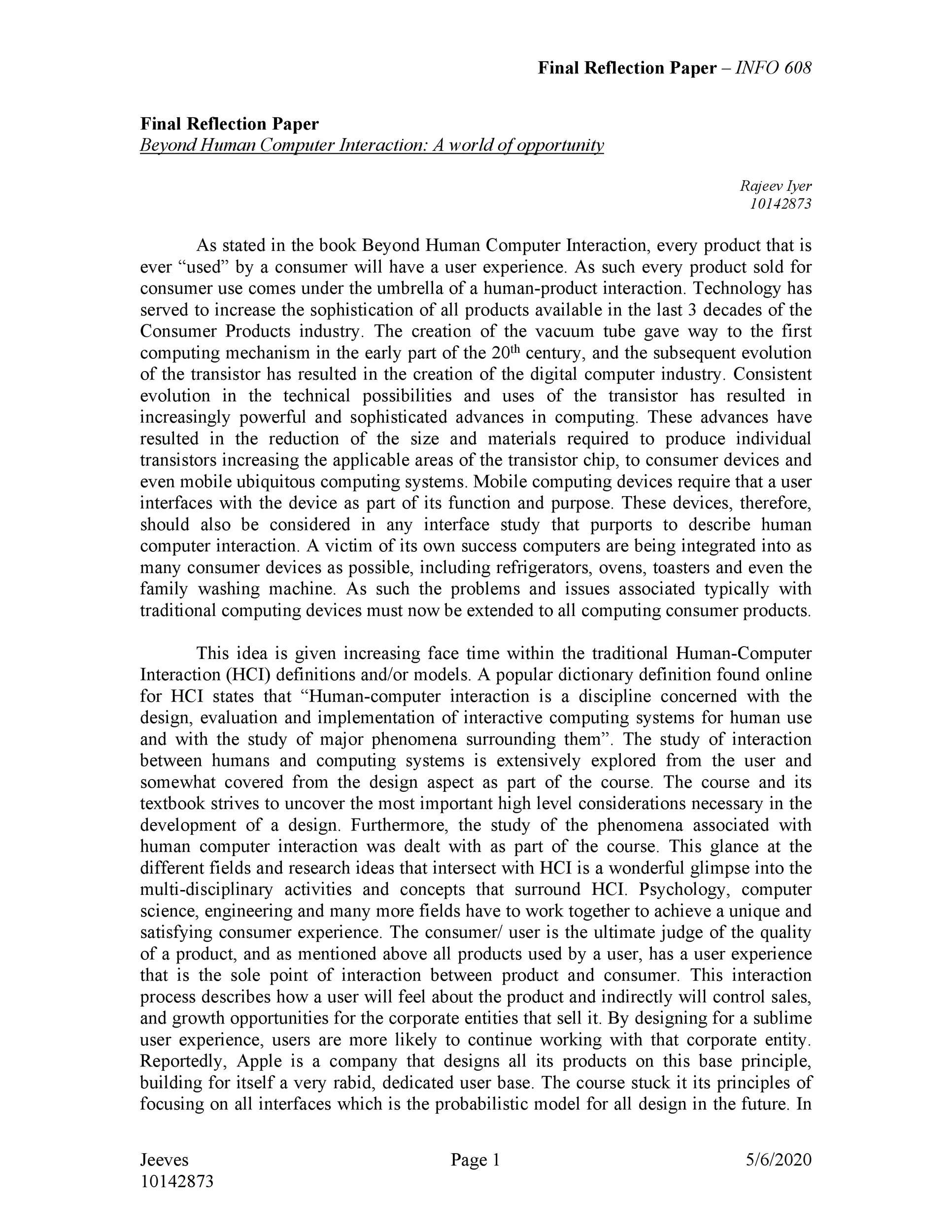 Free reflective essay example 19