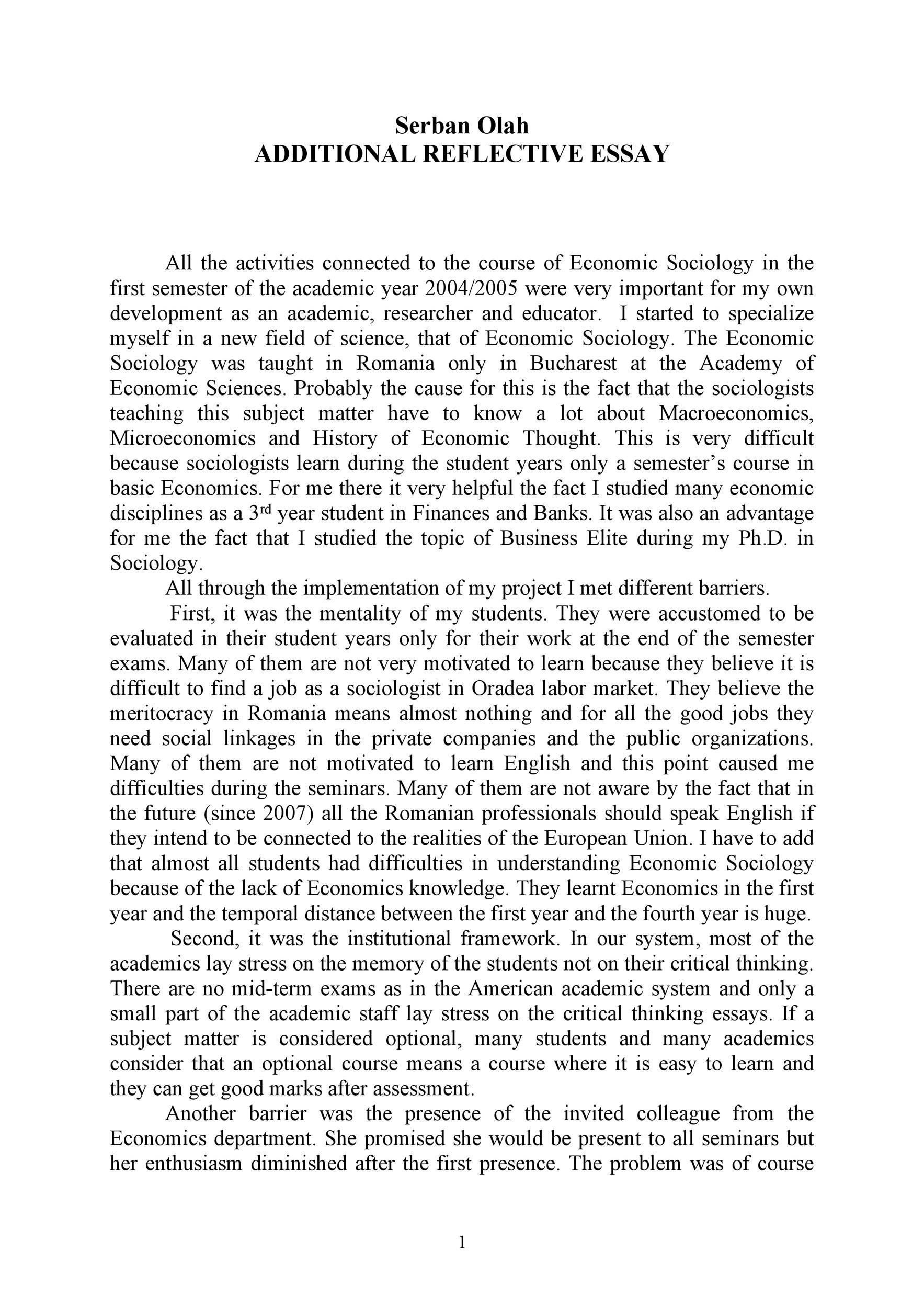 Free reflective essay example 25