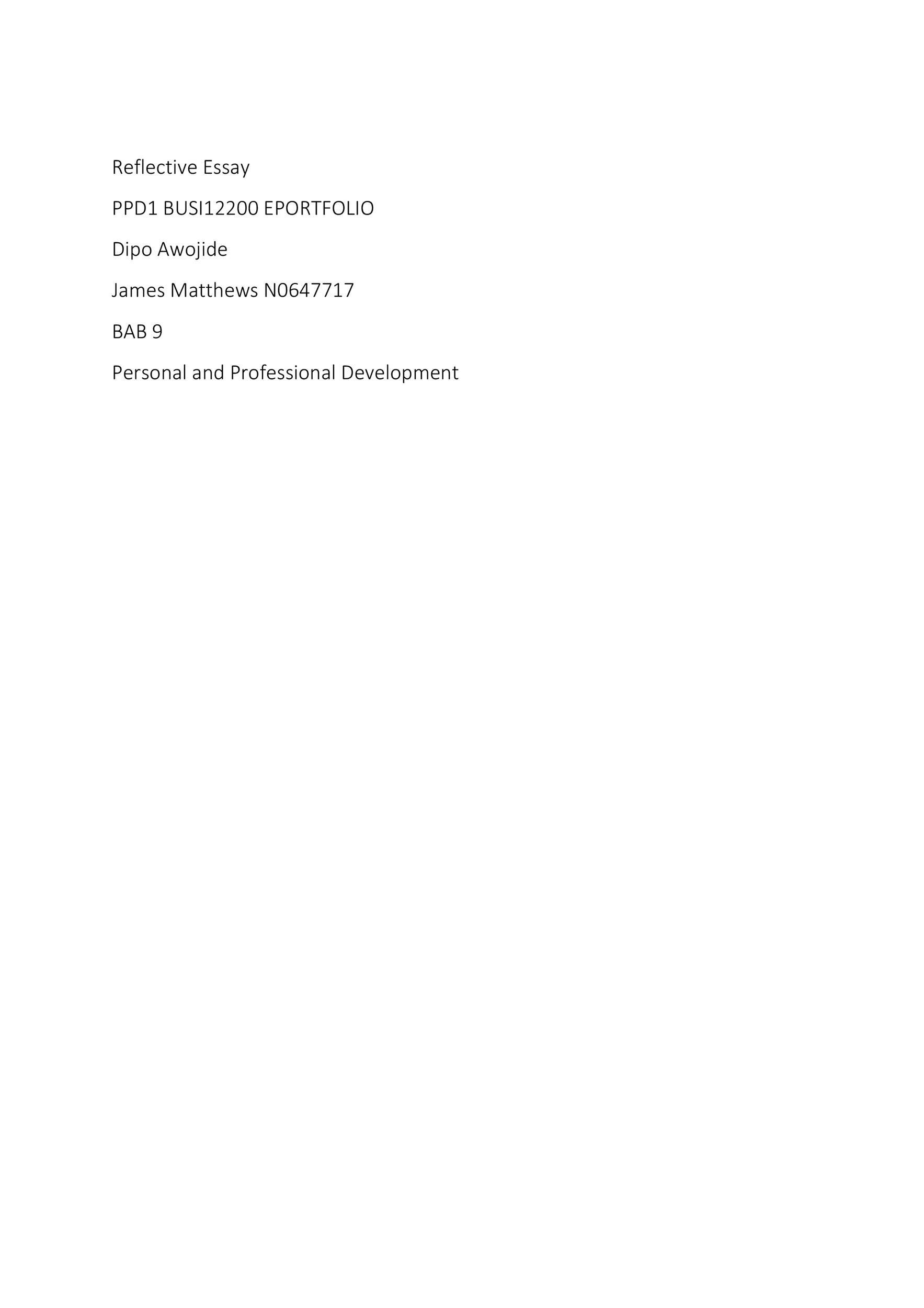 Free reflective essay example 26