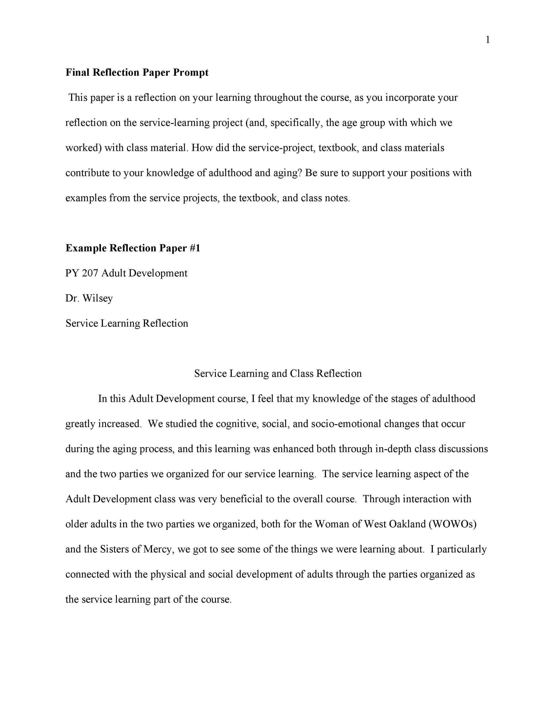 Free reflective essay example 27