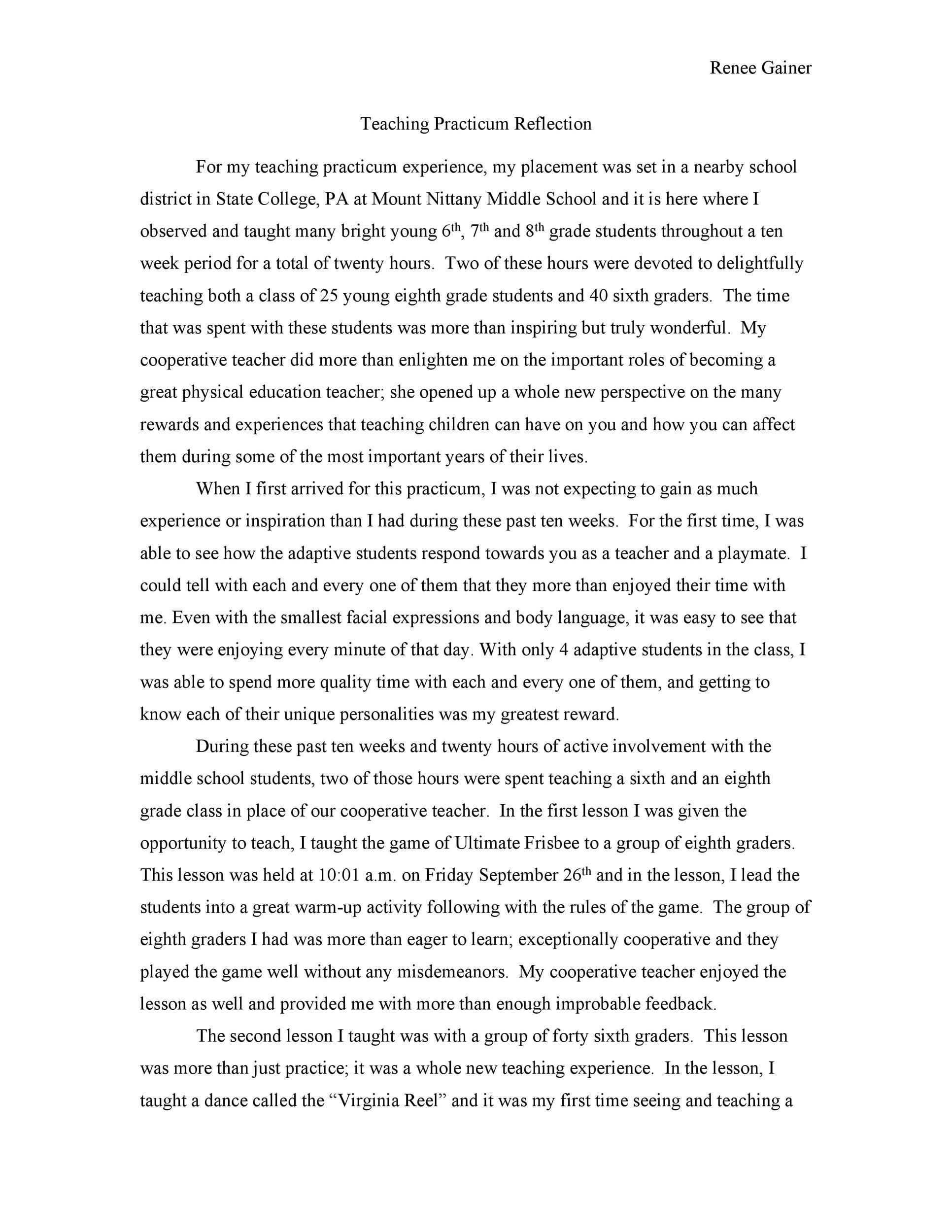 Free reflective essay example 28