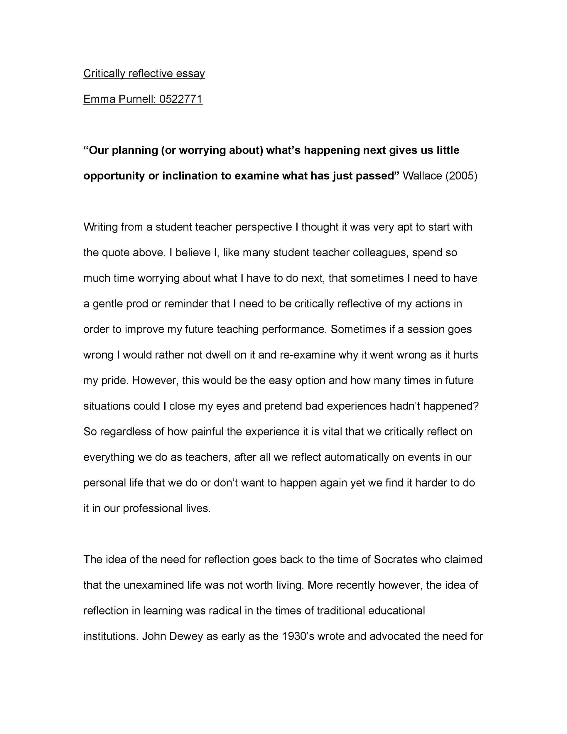 Free reflective essay example 29
