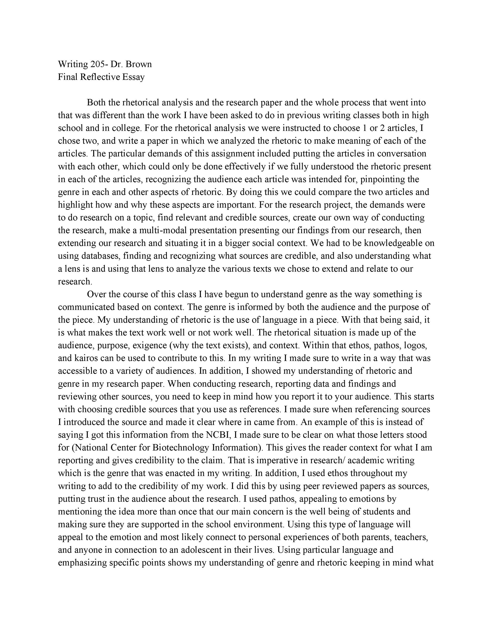 Free reflective essay example 37