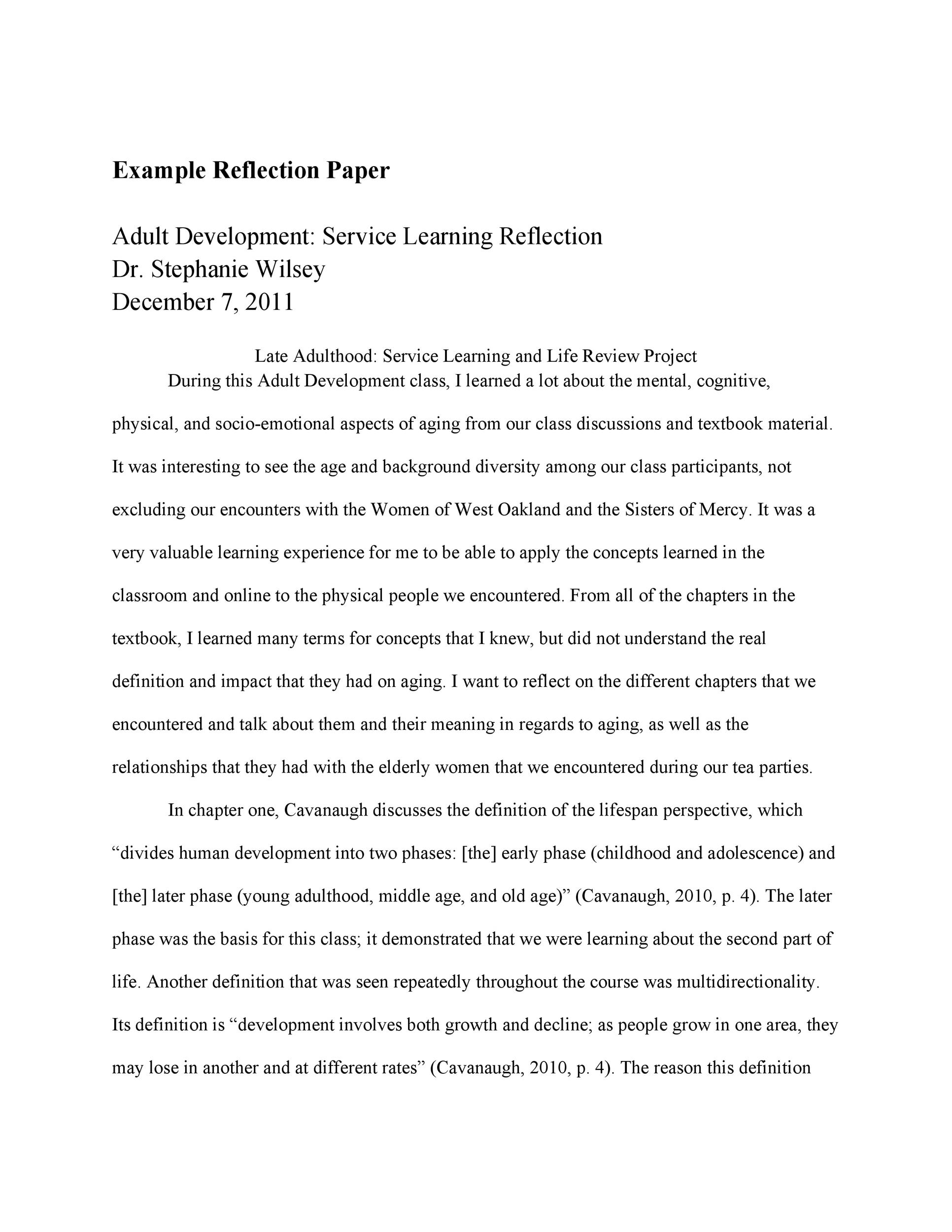 Free reflective essay example 41