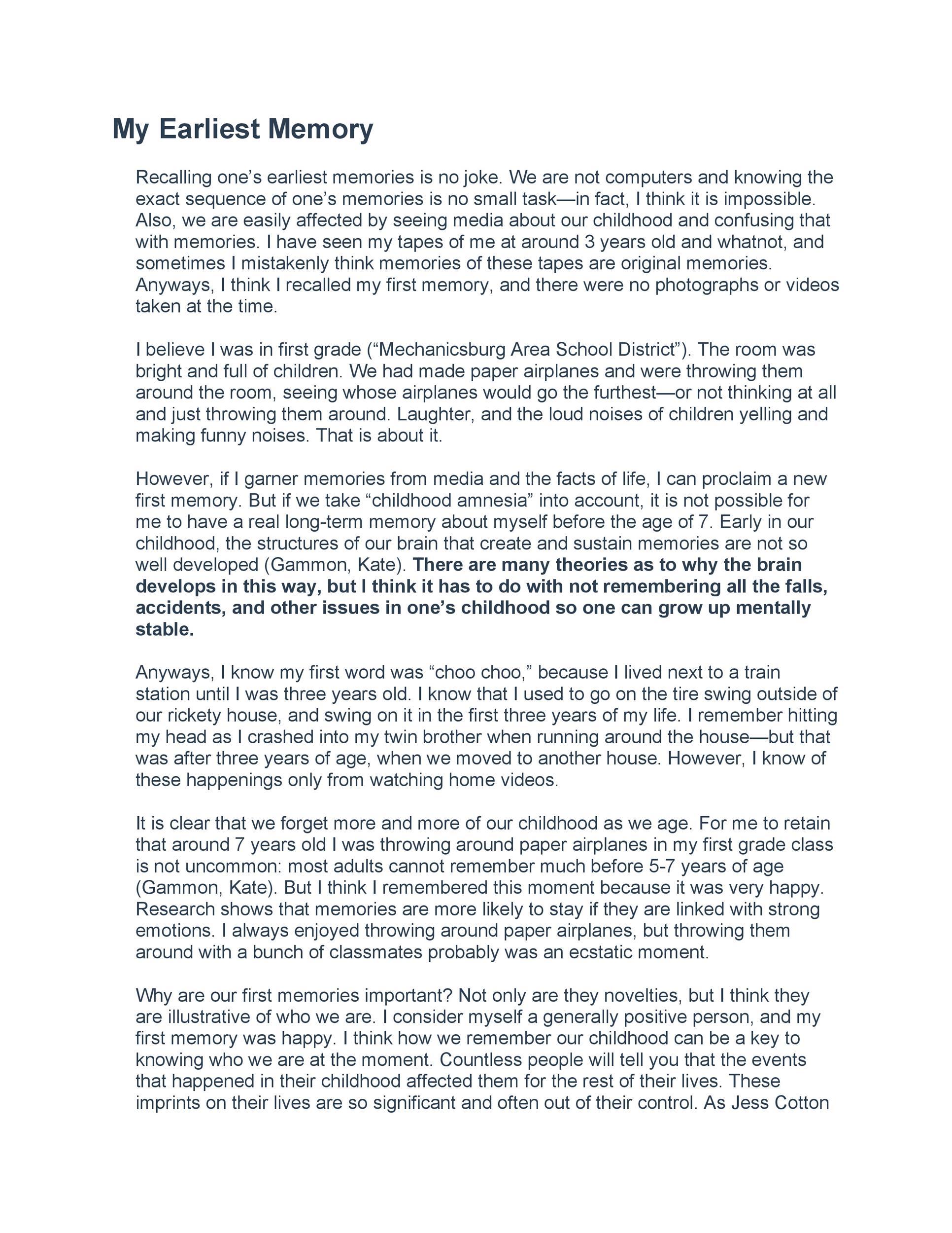 Free reflective essay example 43