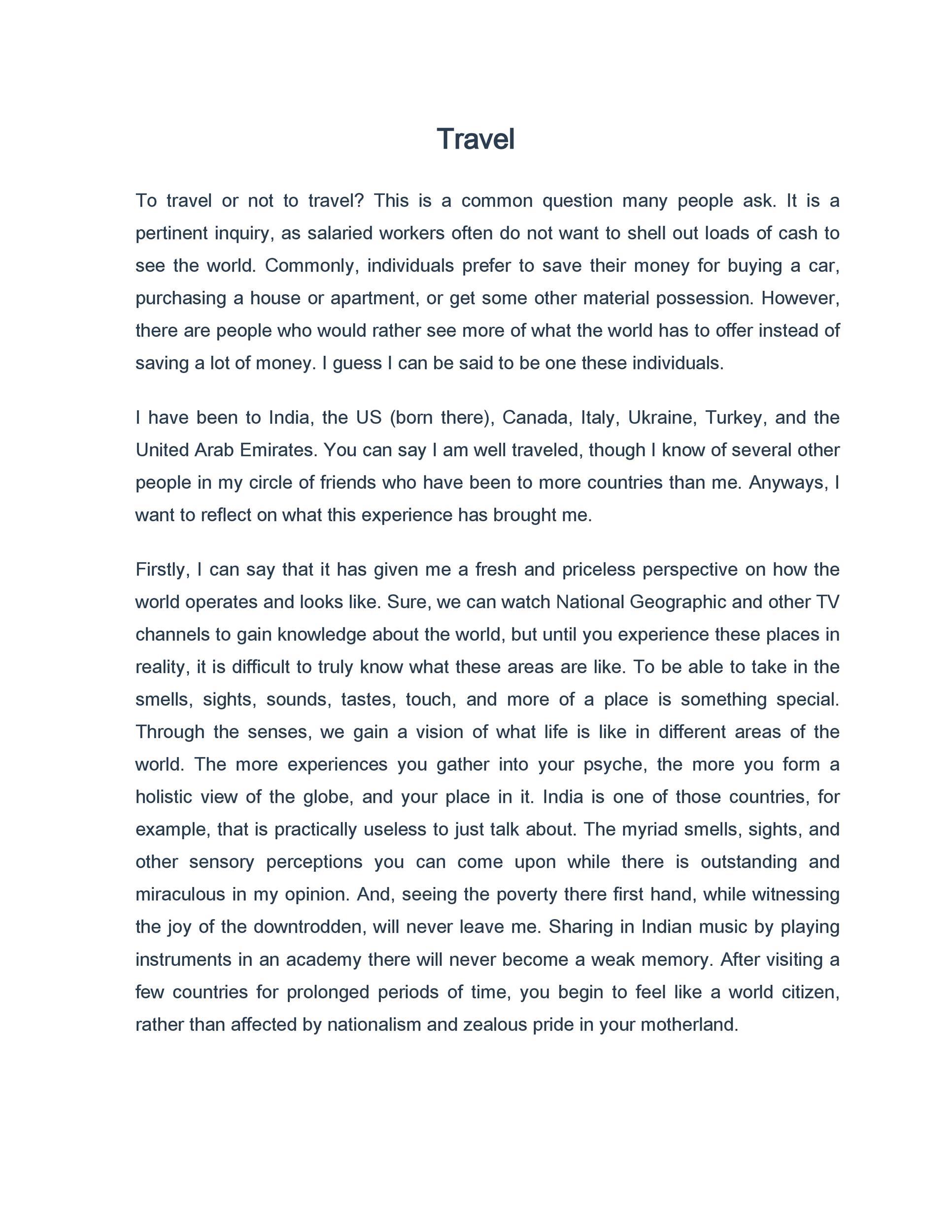 Free reflective essay example 46