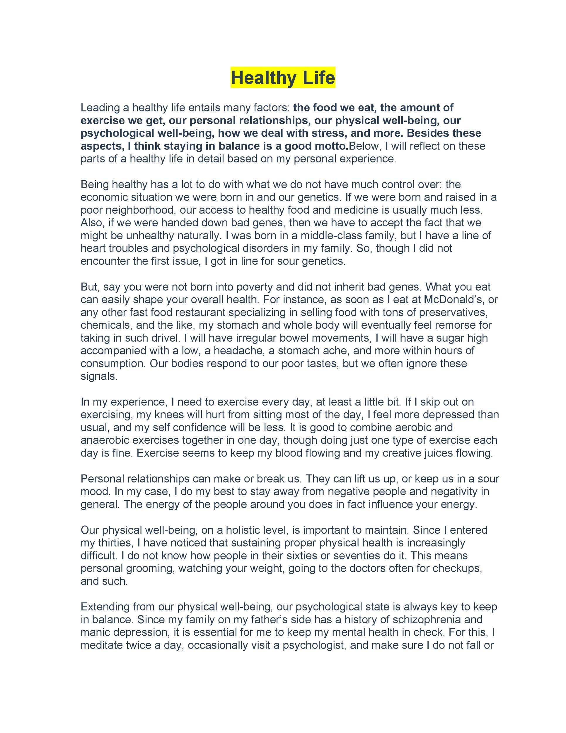 Free reflective essay example 47