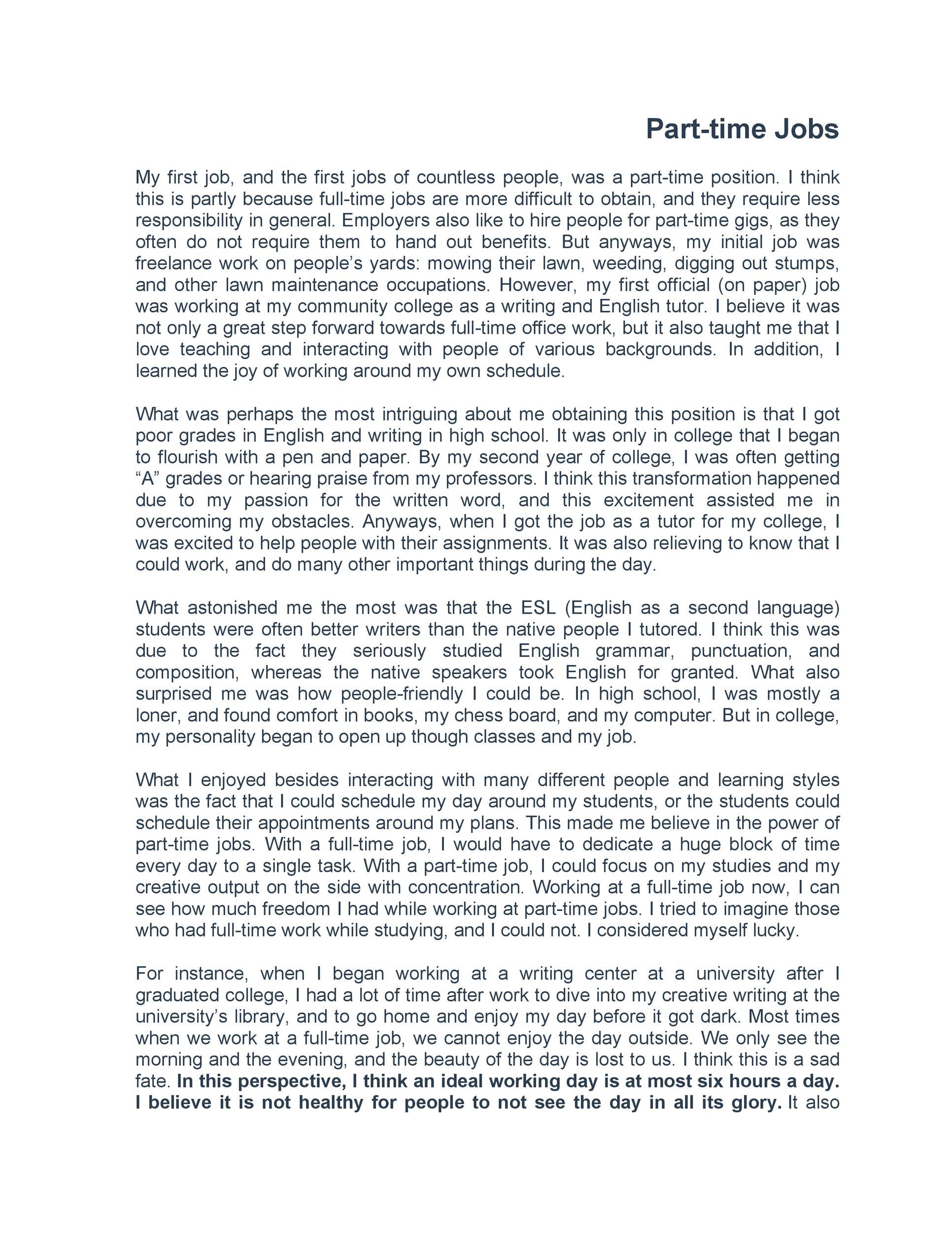 Free reflective essay example 49