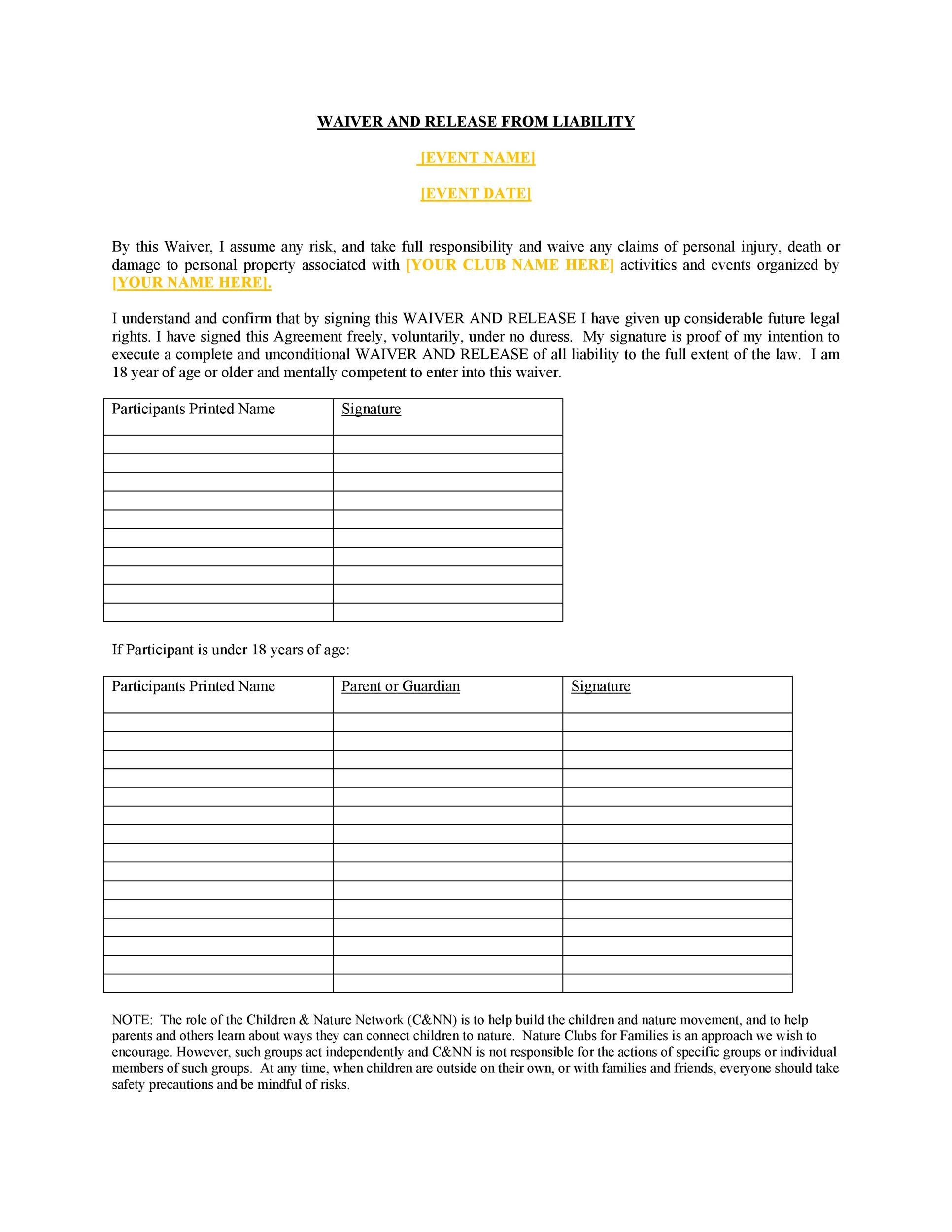 Free release of liability form 01