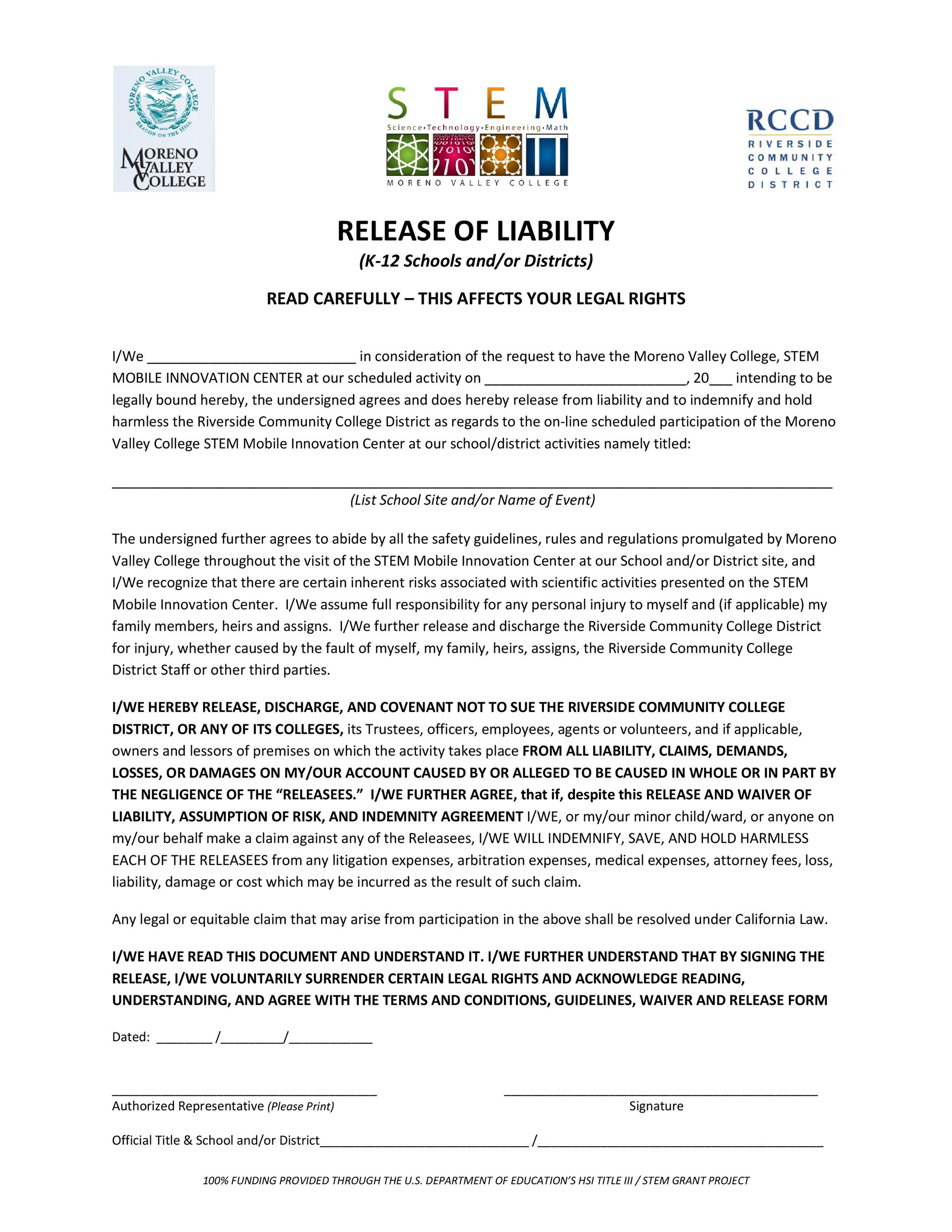 Free release of liability form 06