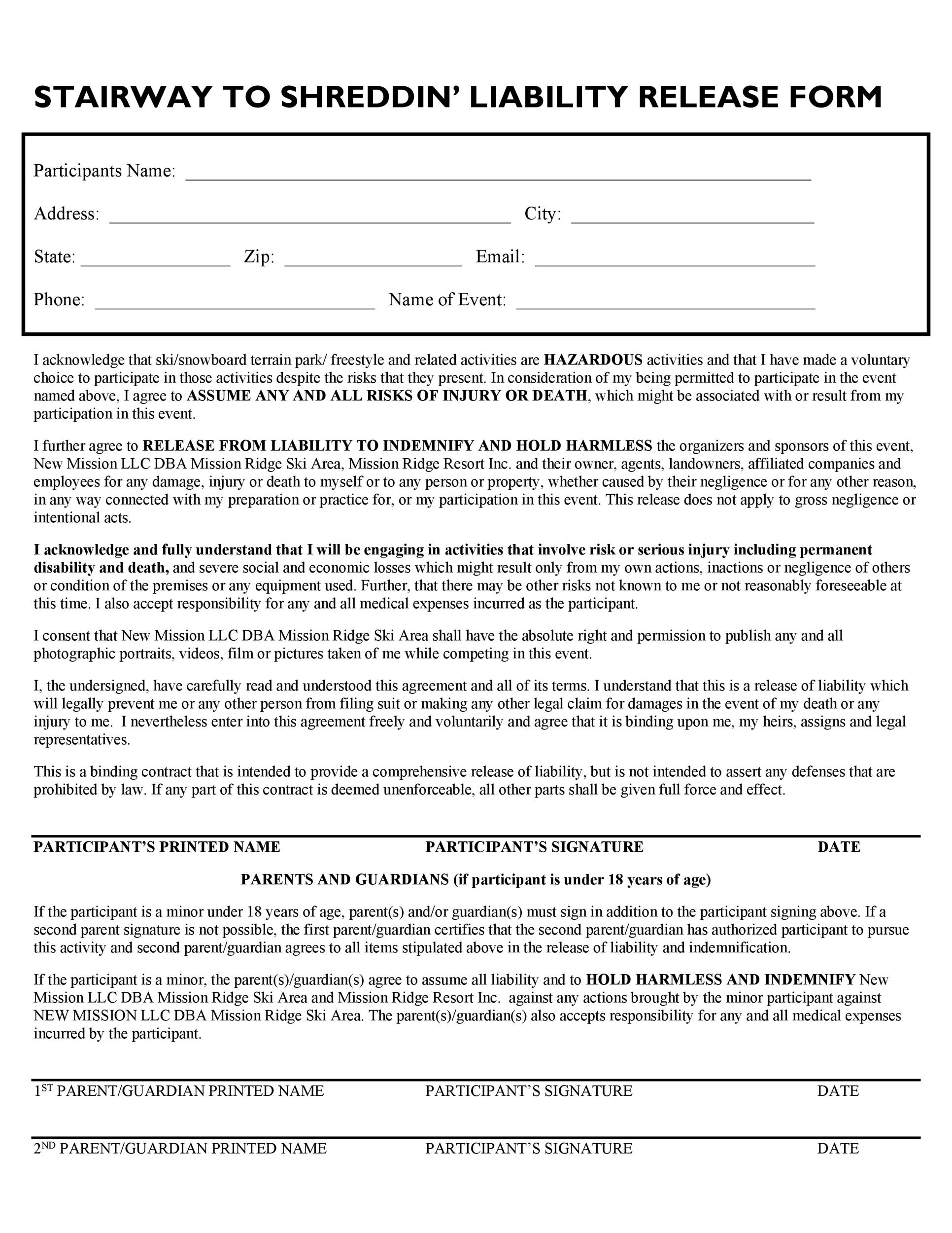 Free release of liability form 08