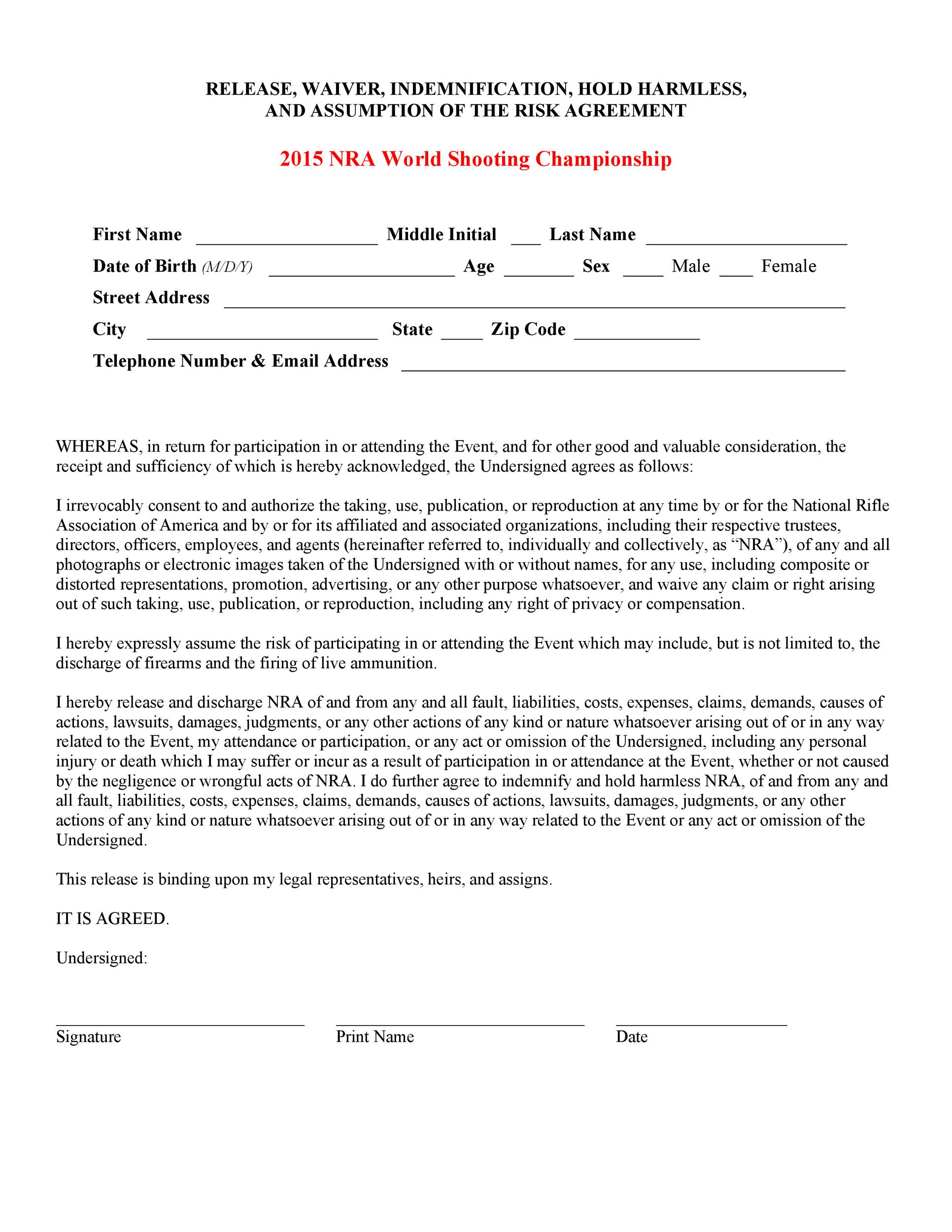 Free release of liability form 09