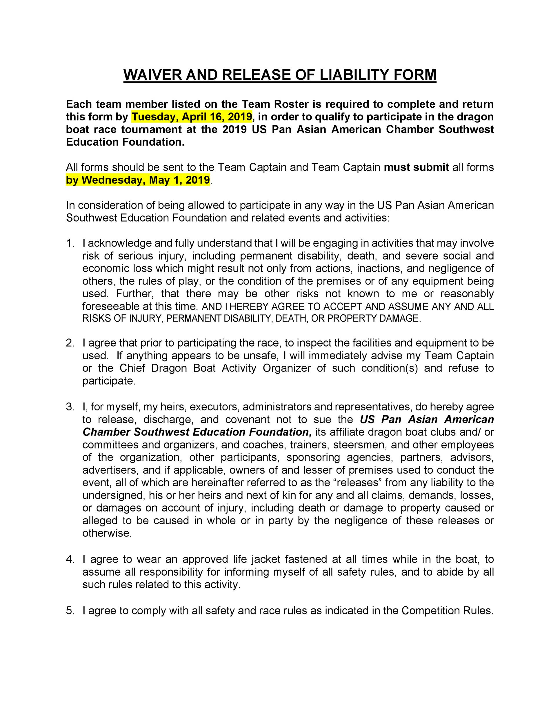 11 Liability Waiver Form Templates Pdf Doc Free