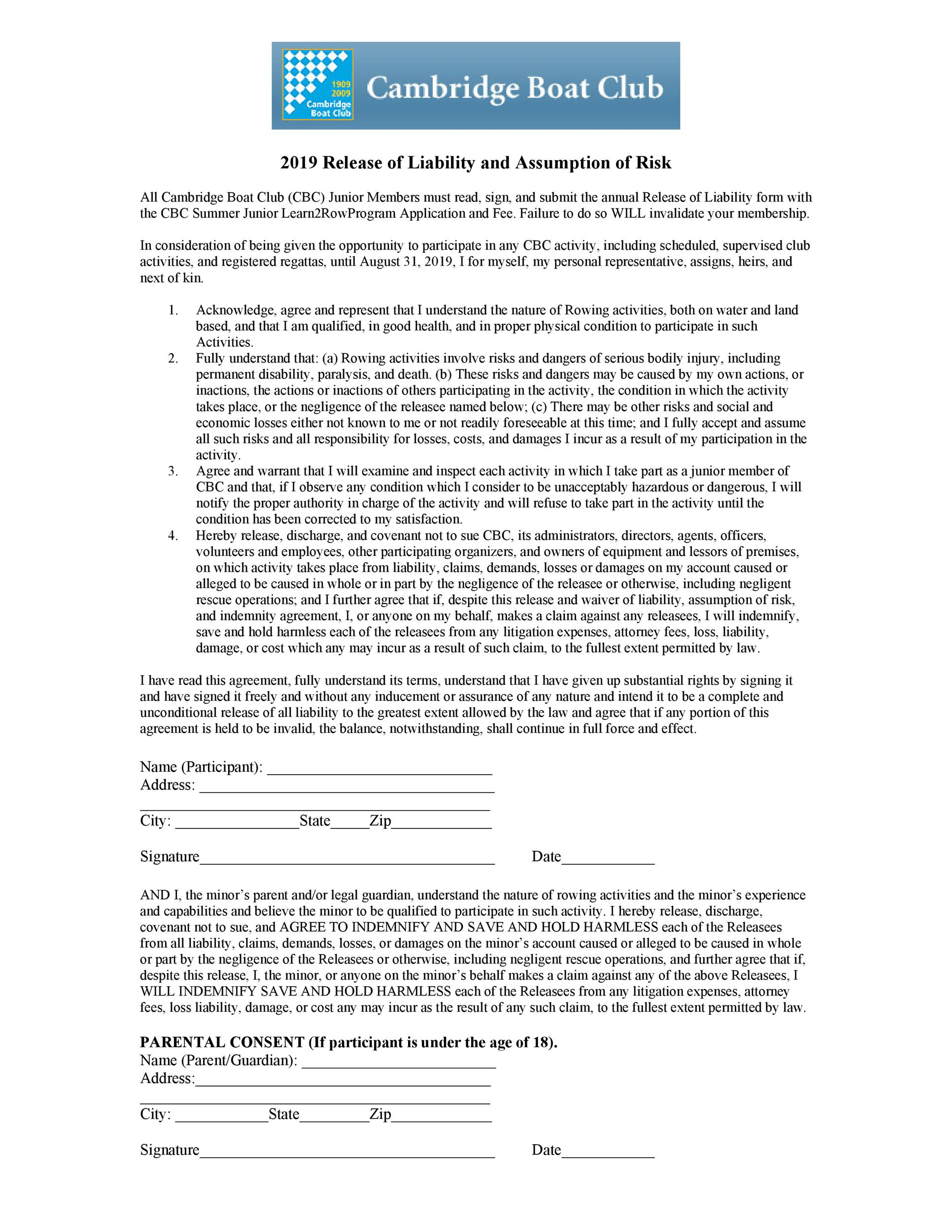 Free release of liability form 12