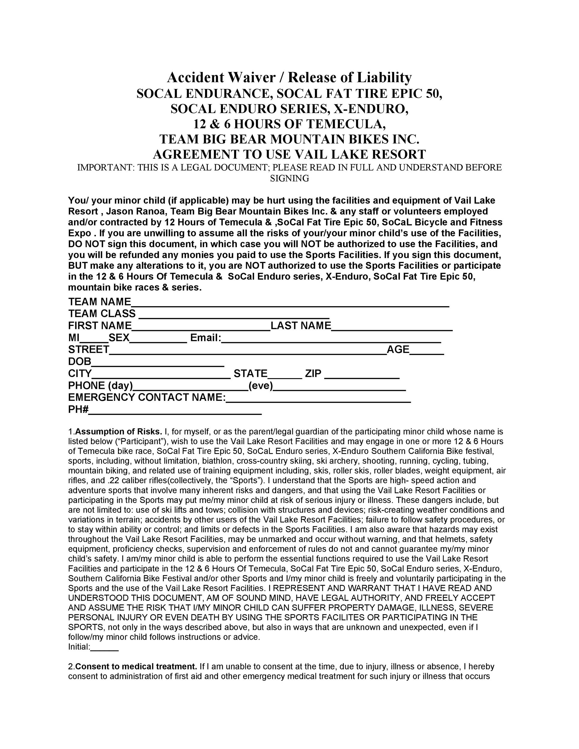 Free release of liability form 14