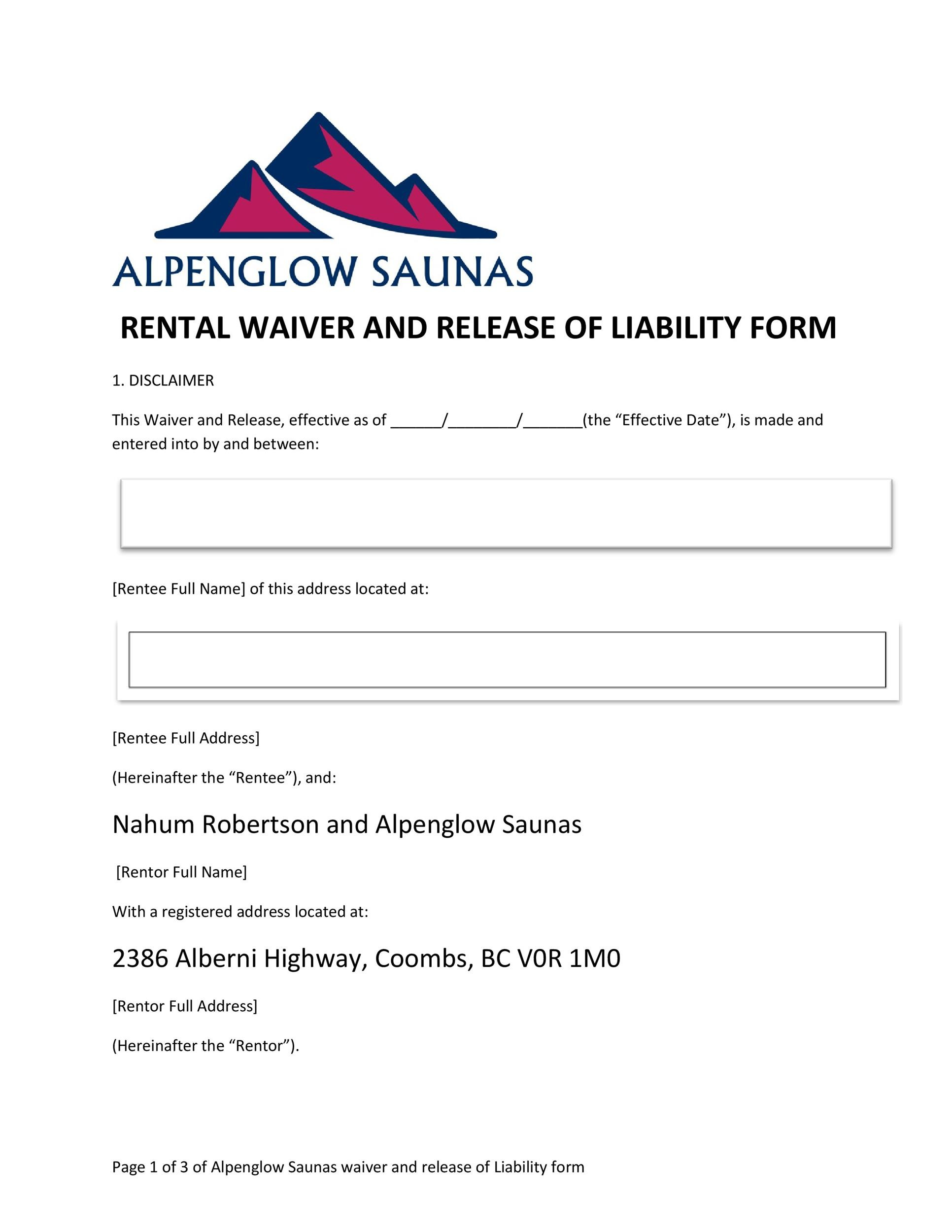 Free release of liability form 17