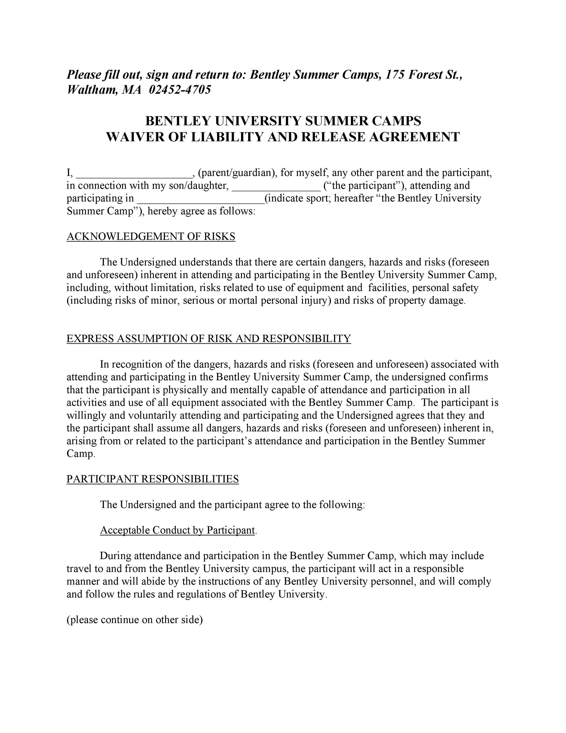 Free release of liability form 20
