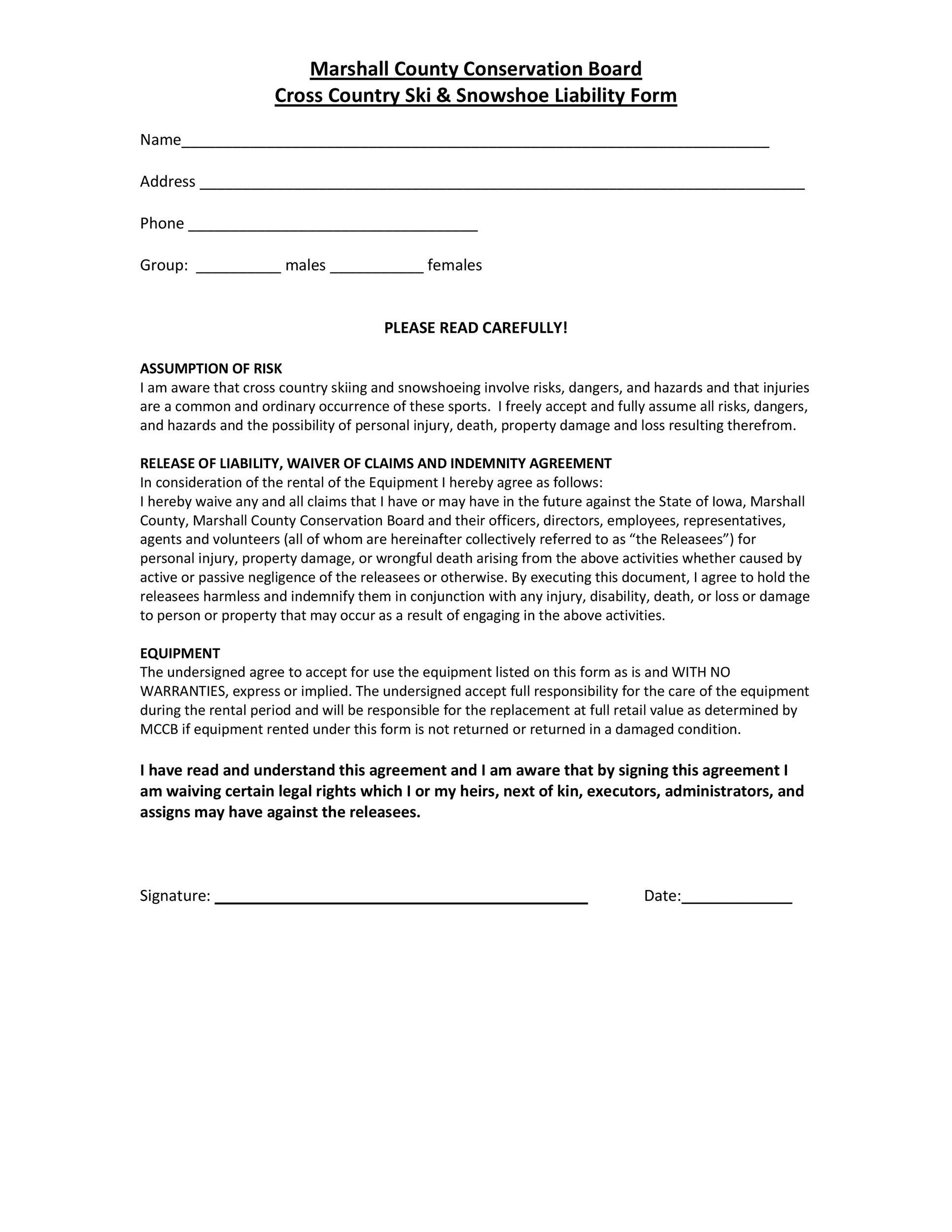 Free release of liability form 21