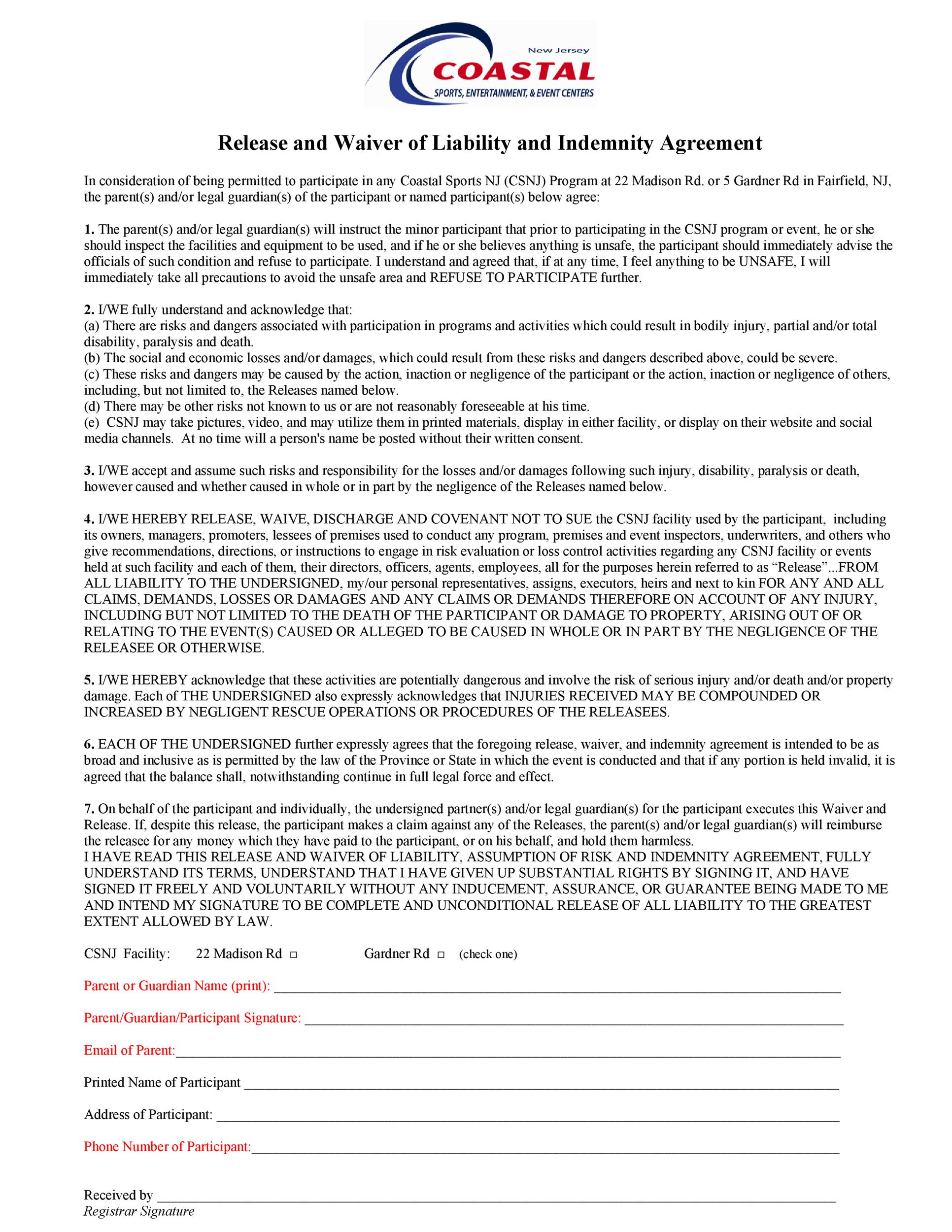 Free release of liability form 22