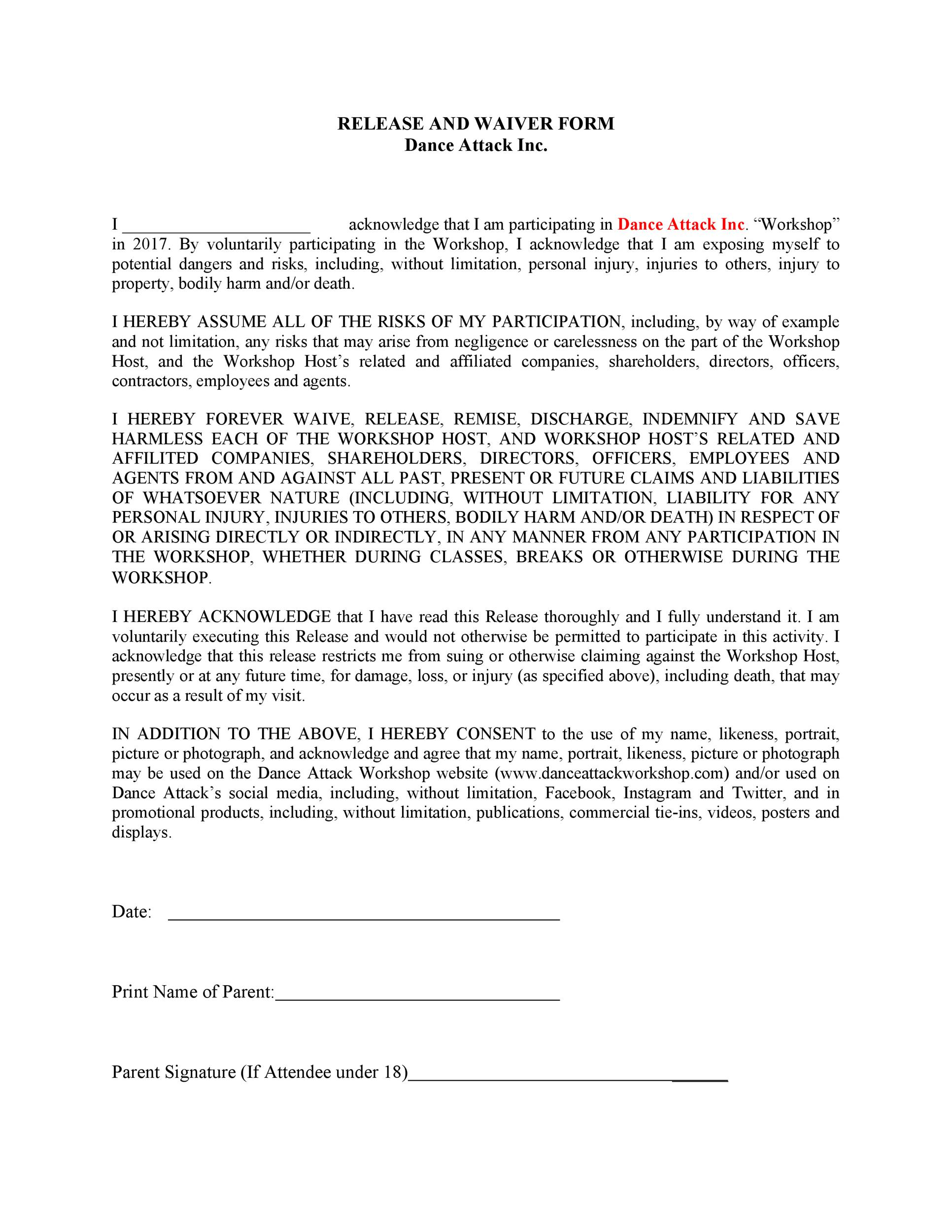 Free release of liability form 24