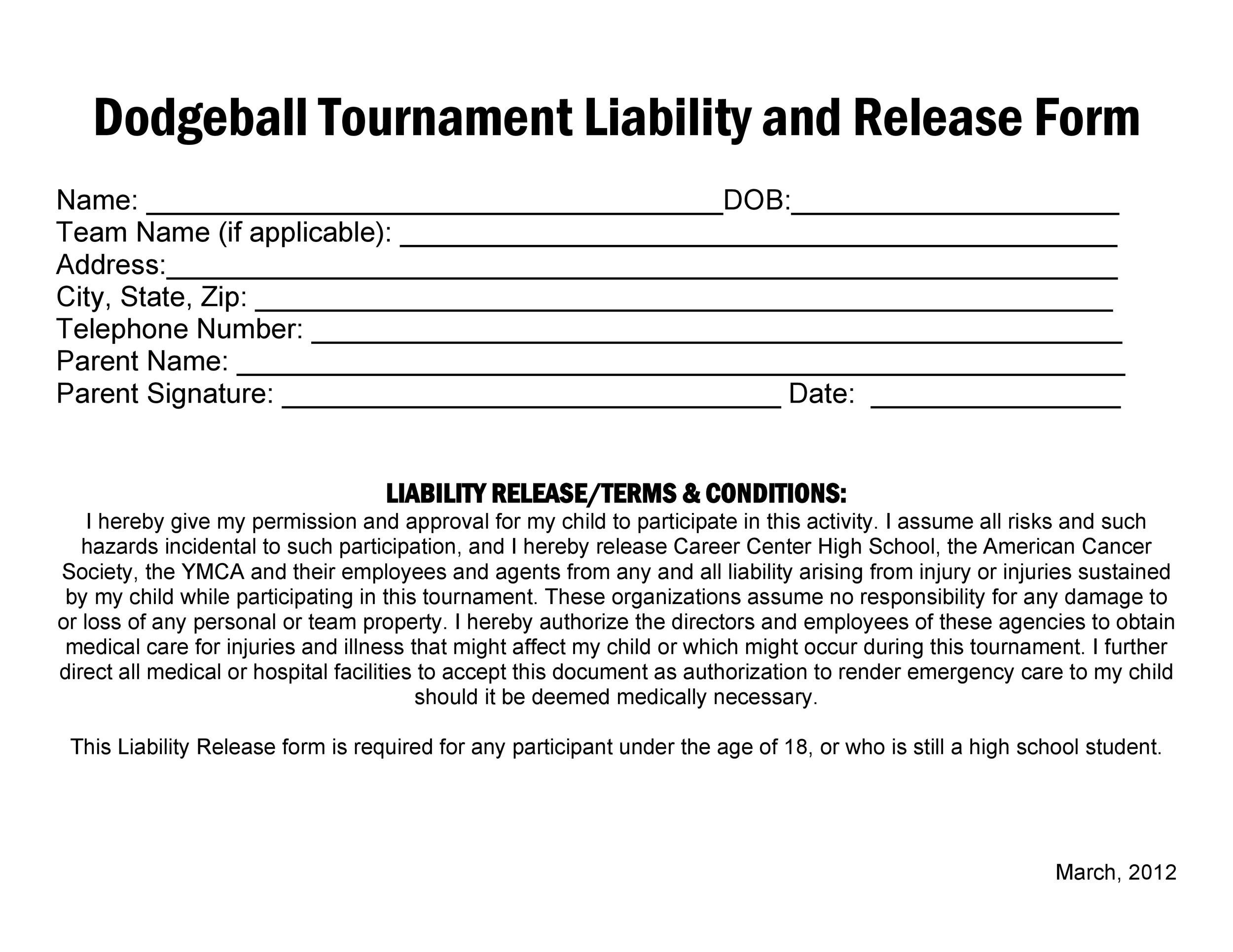 Free release of liability form 25