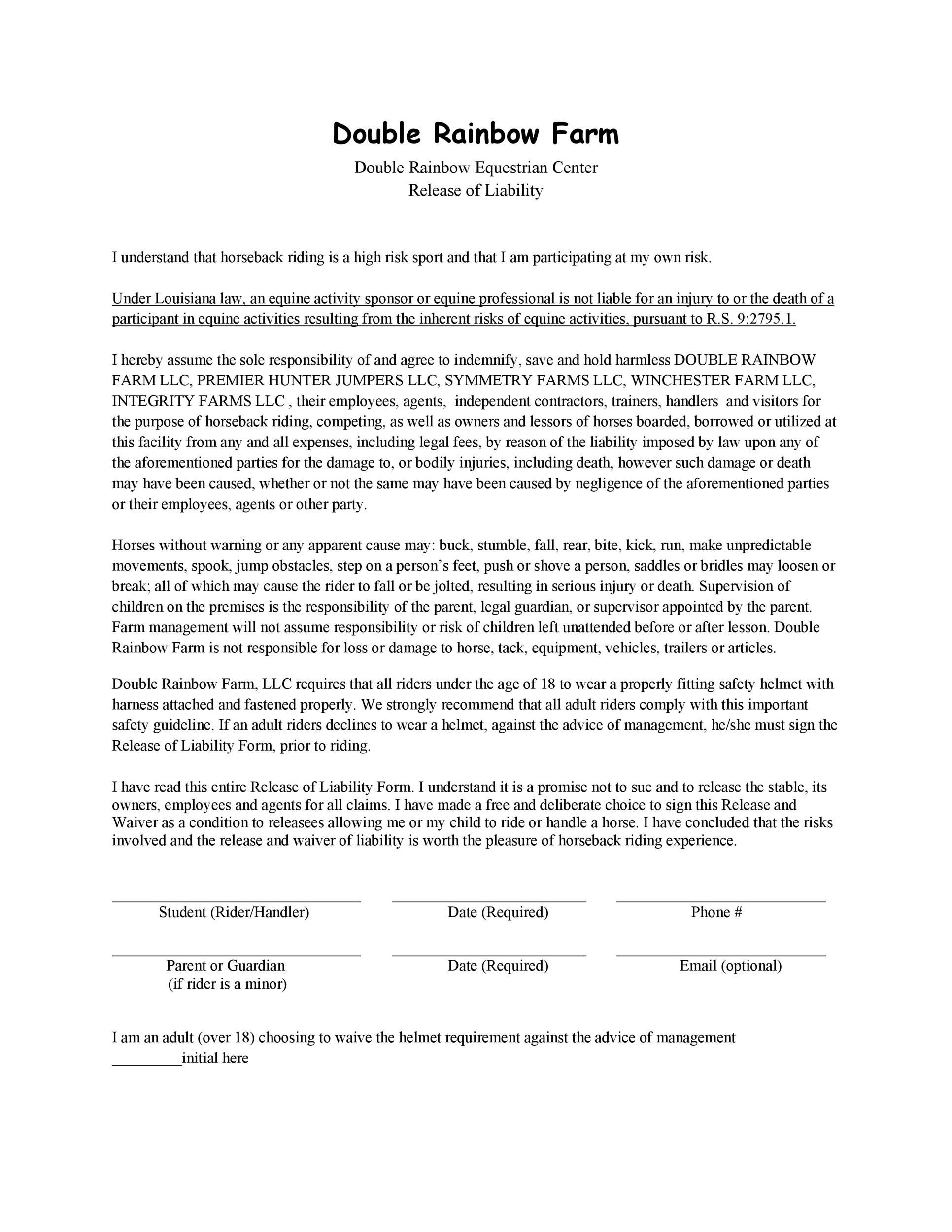 Free release of liability form 27