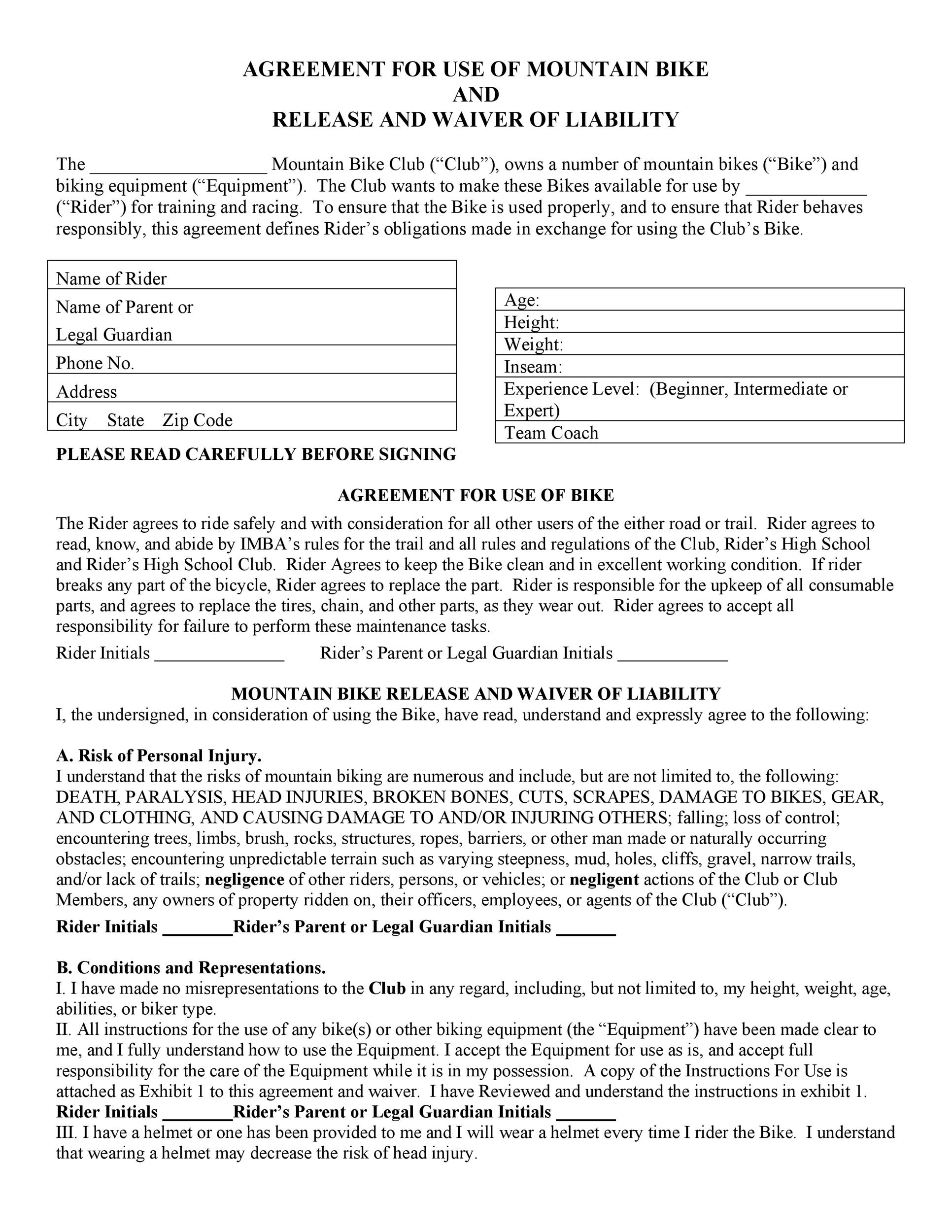 Free release of liability form 28