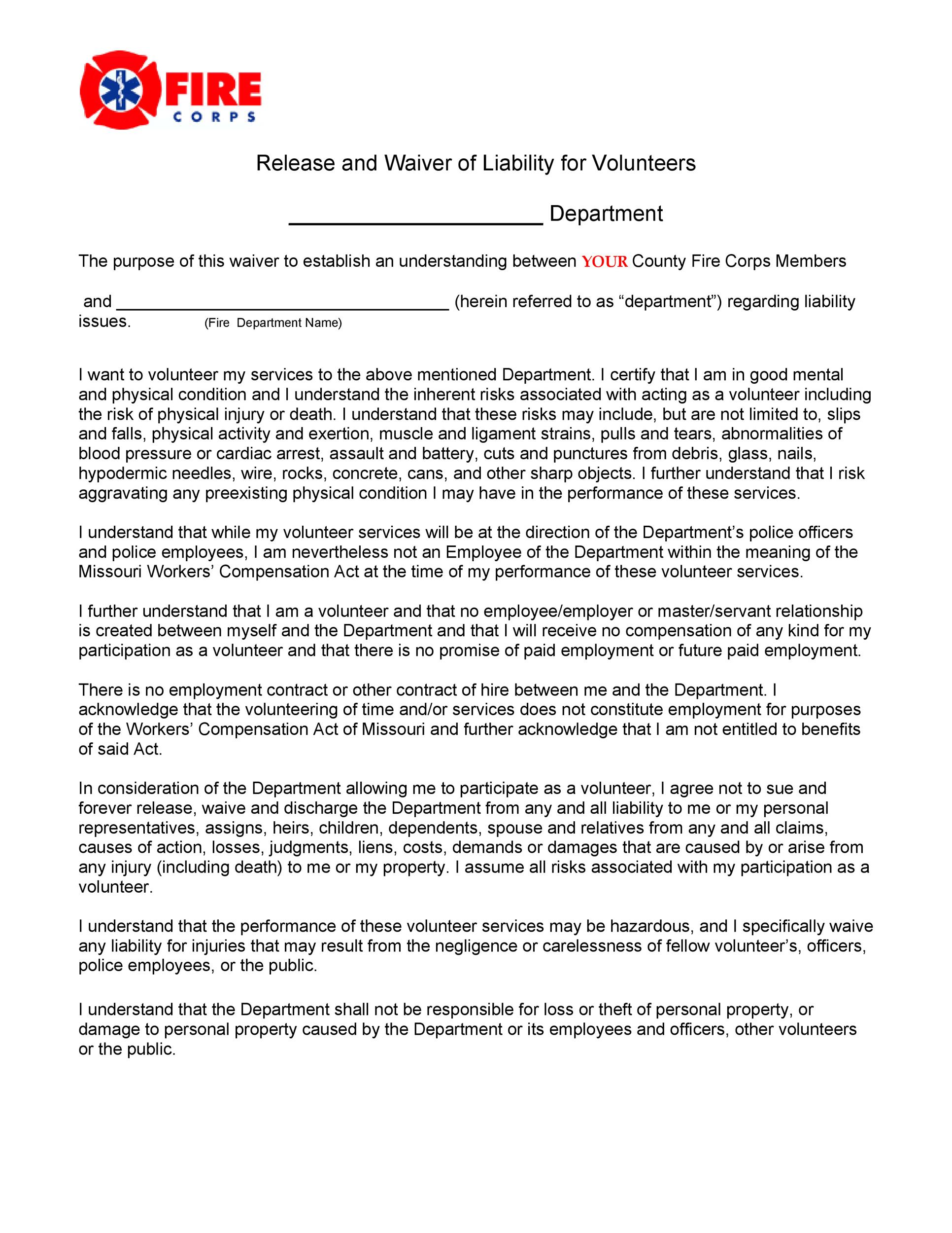 Free release of liability form 30