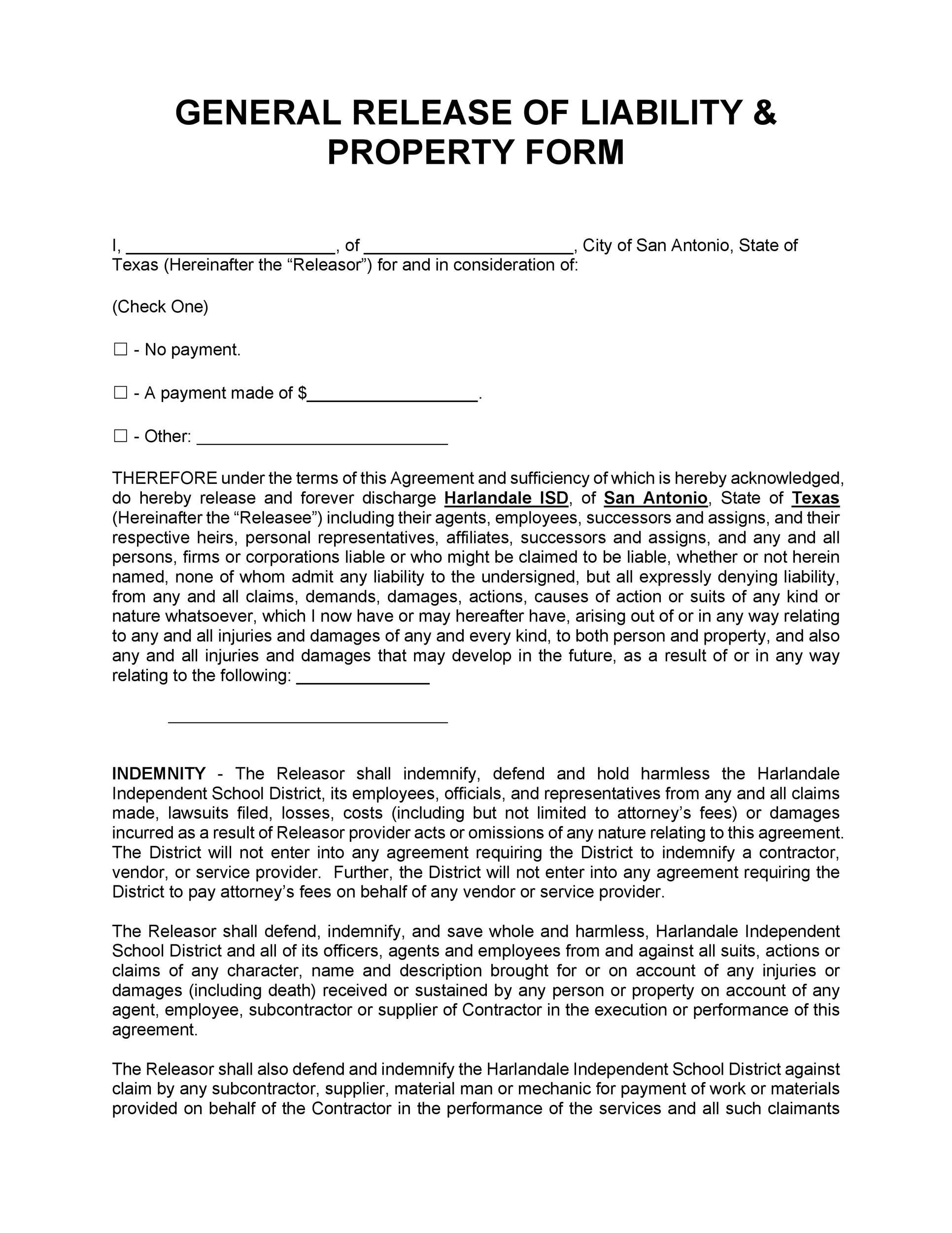 Free release of liability form 34
