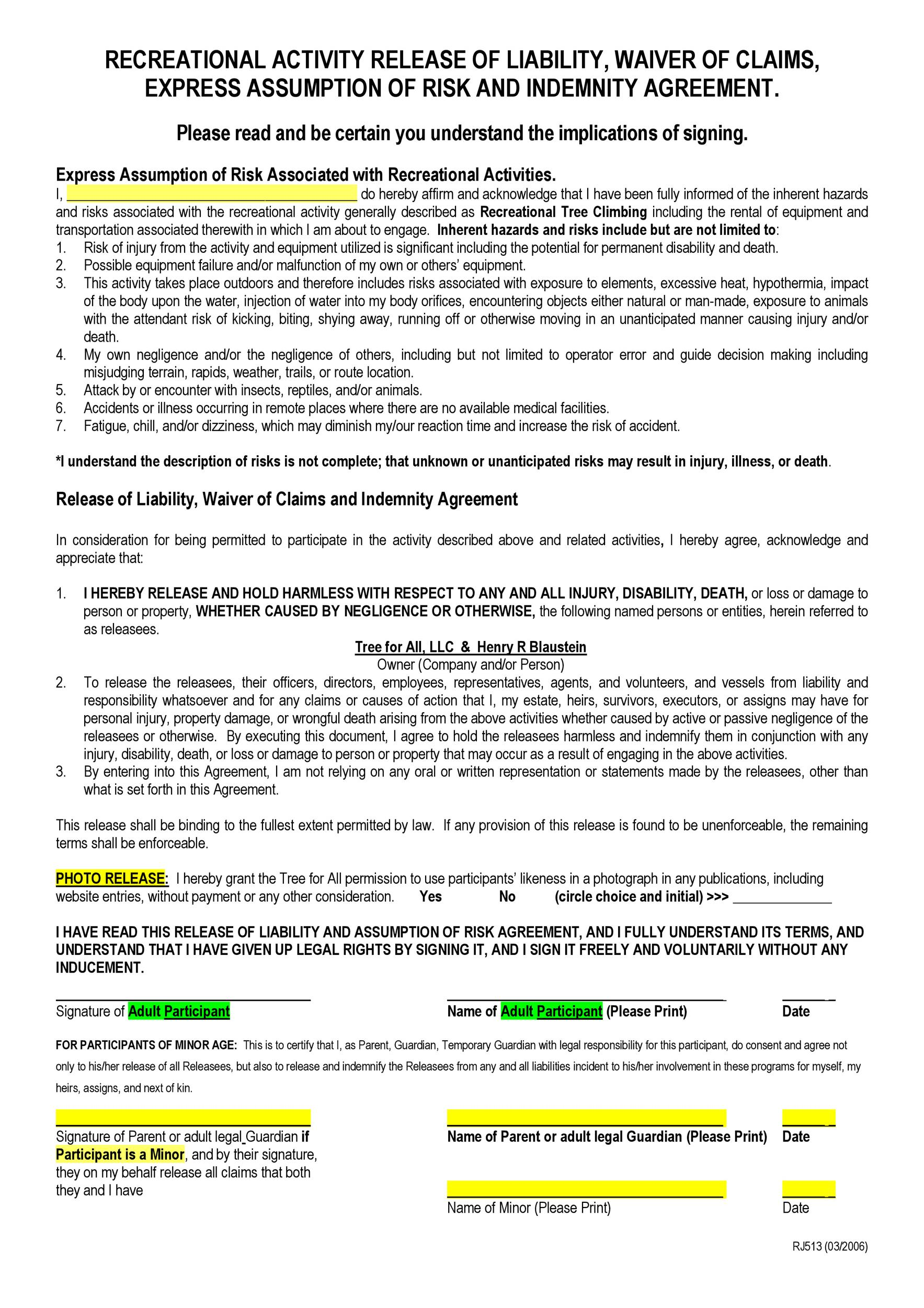 Free release of liability form 37