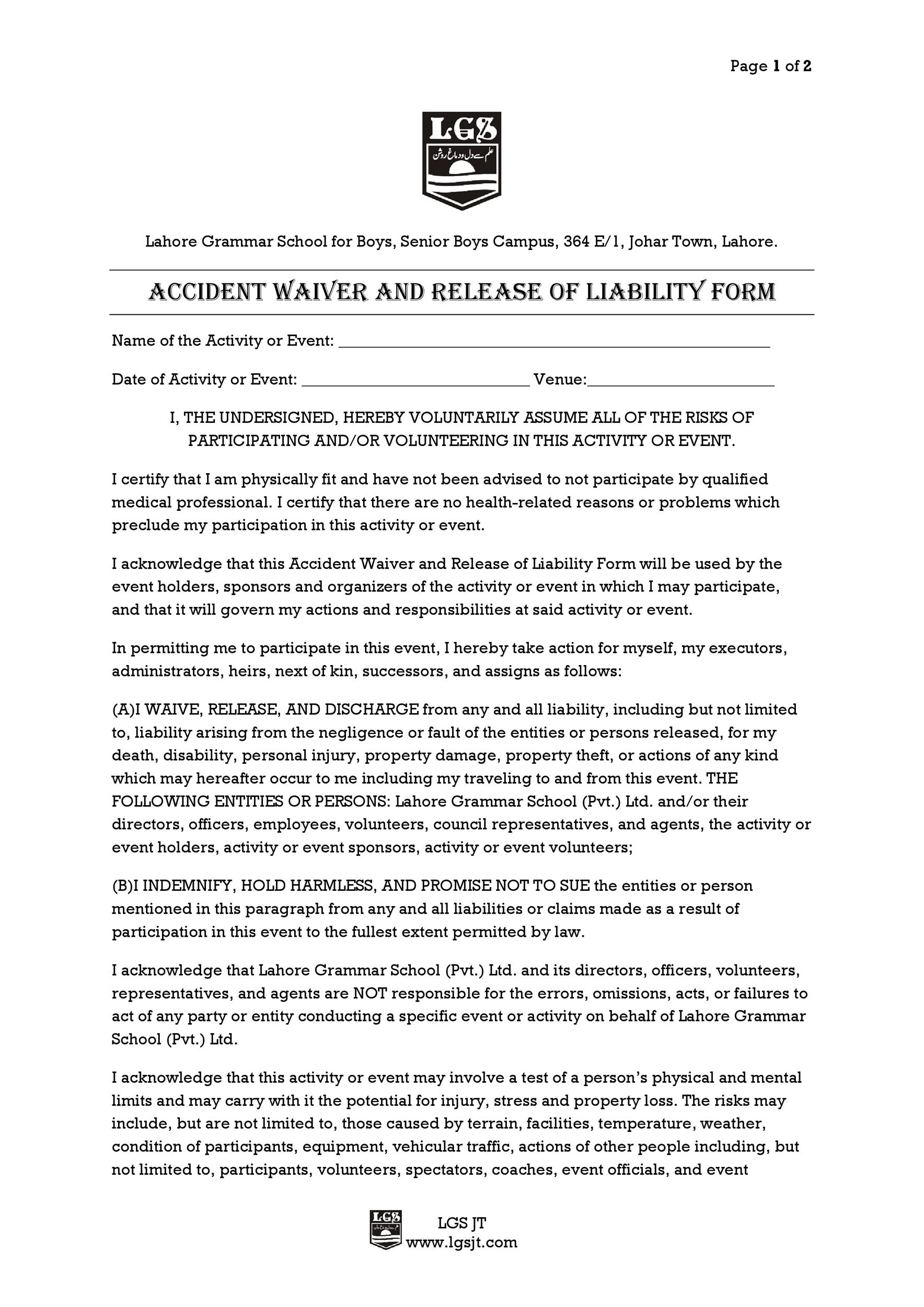 Free release of liability form 38