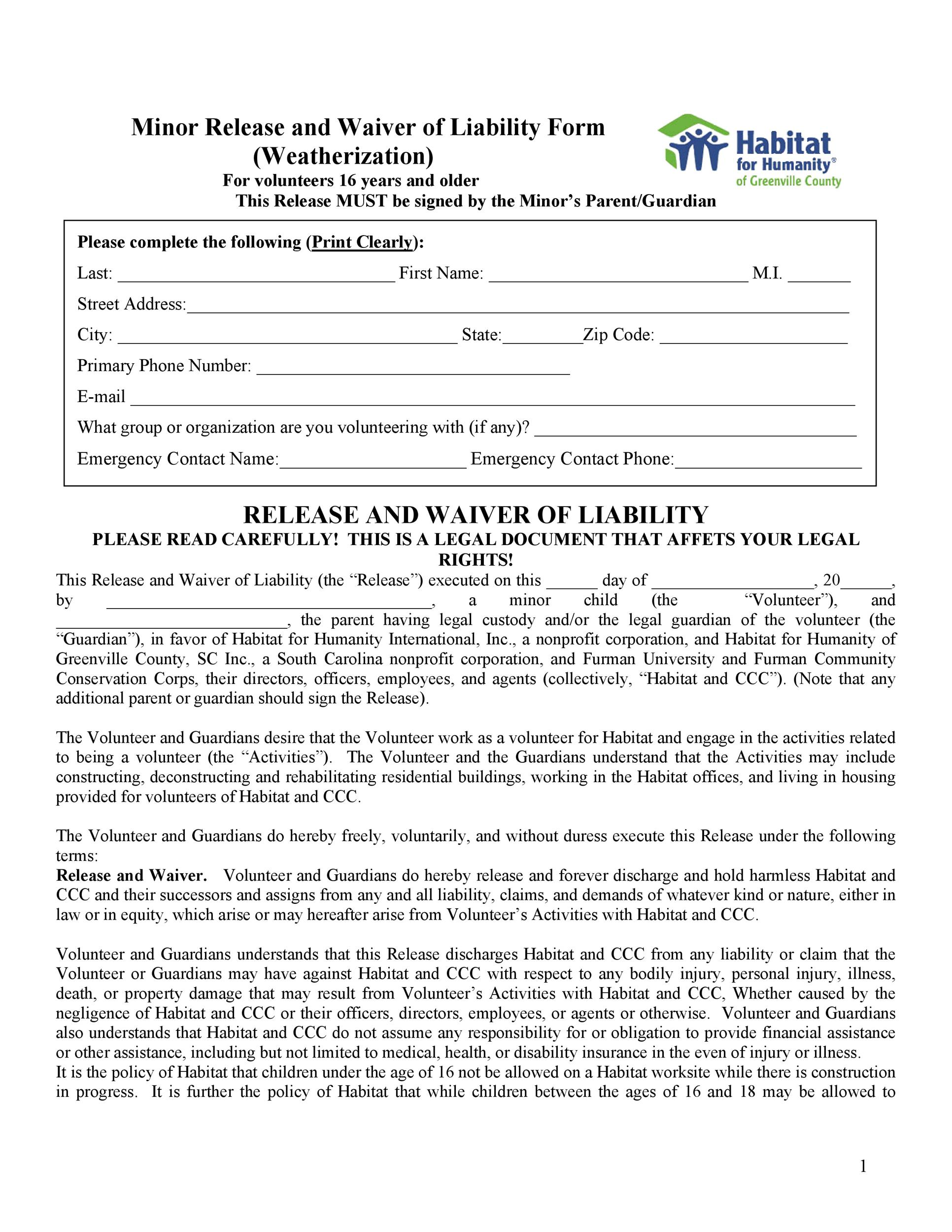 Free release of liability form 40