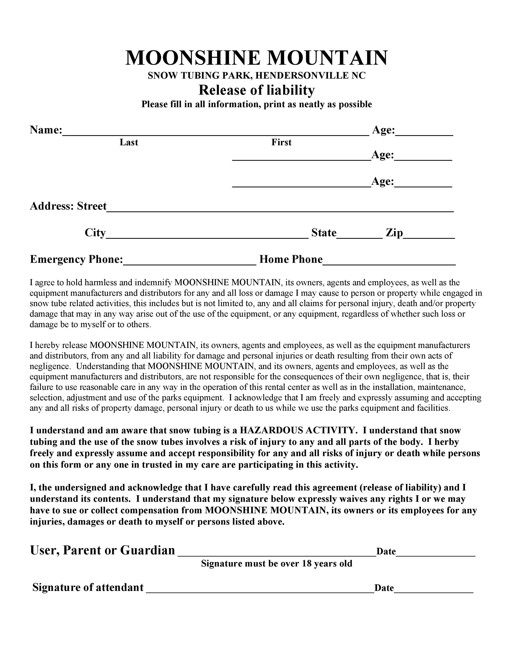 Free release of liability form 42