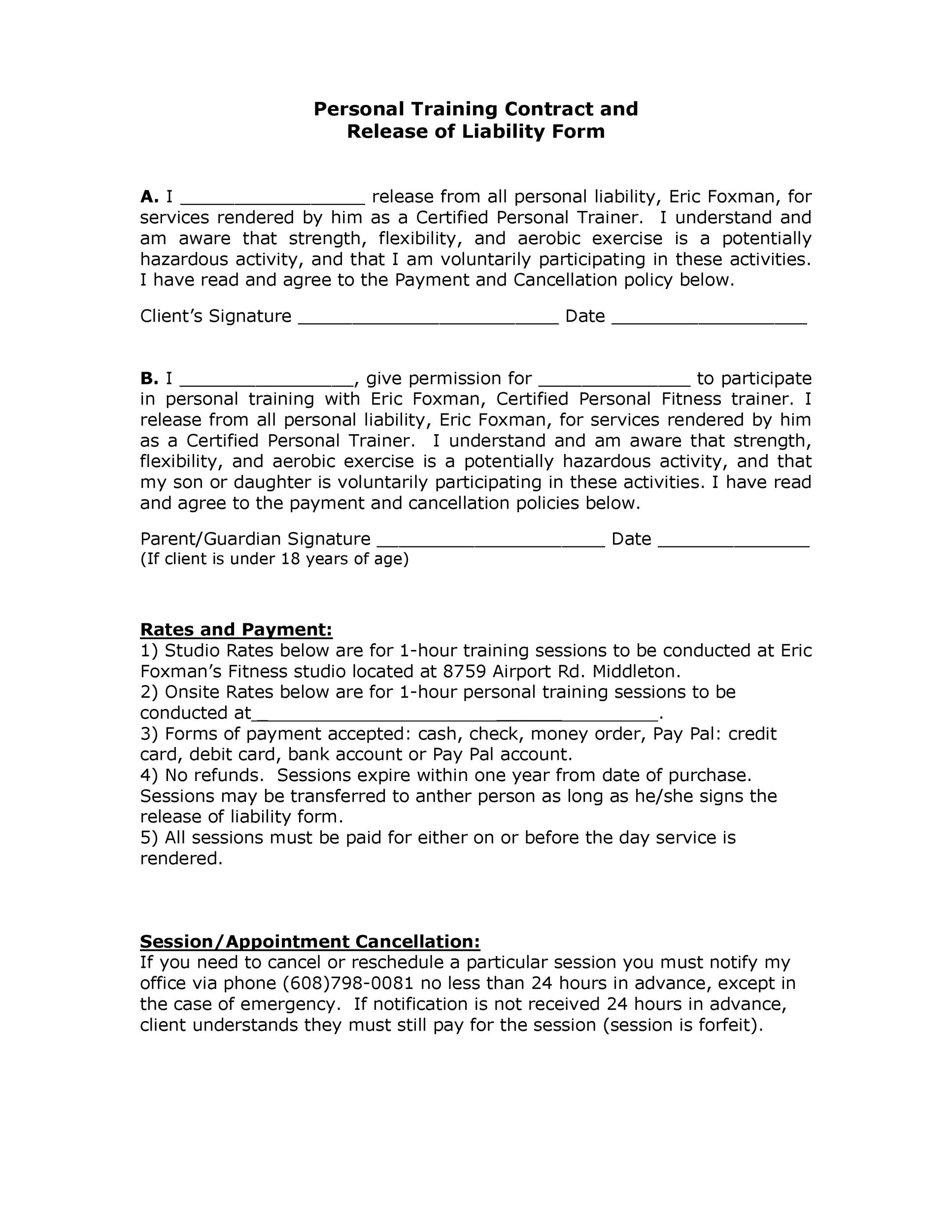 Free release of liability form 46