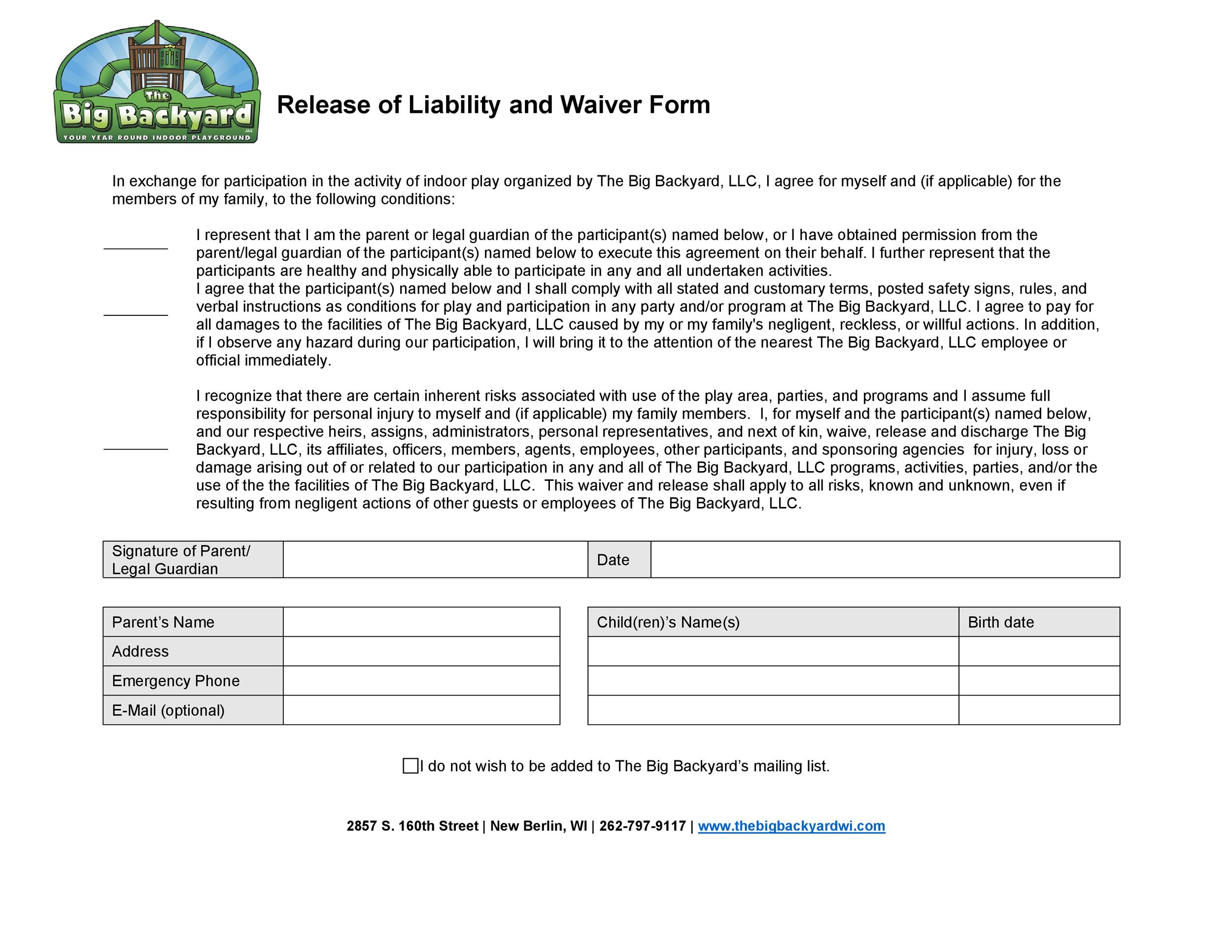 Free release of liability form 48