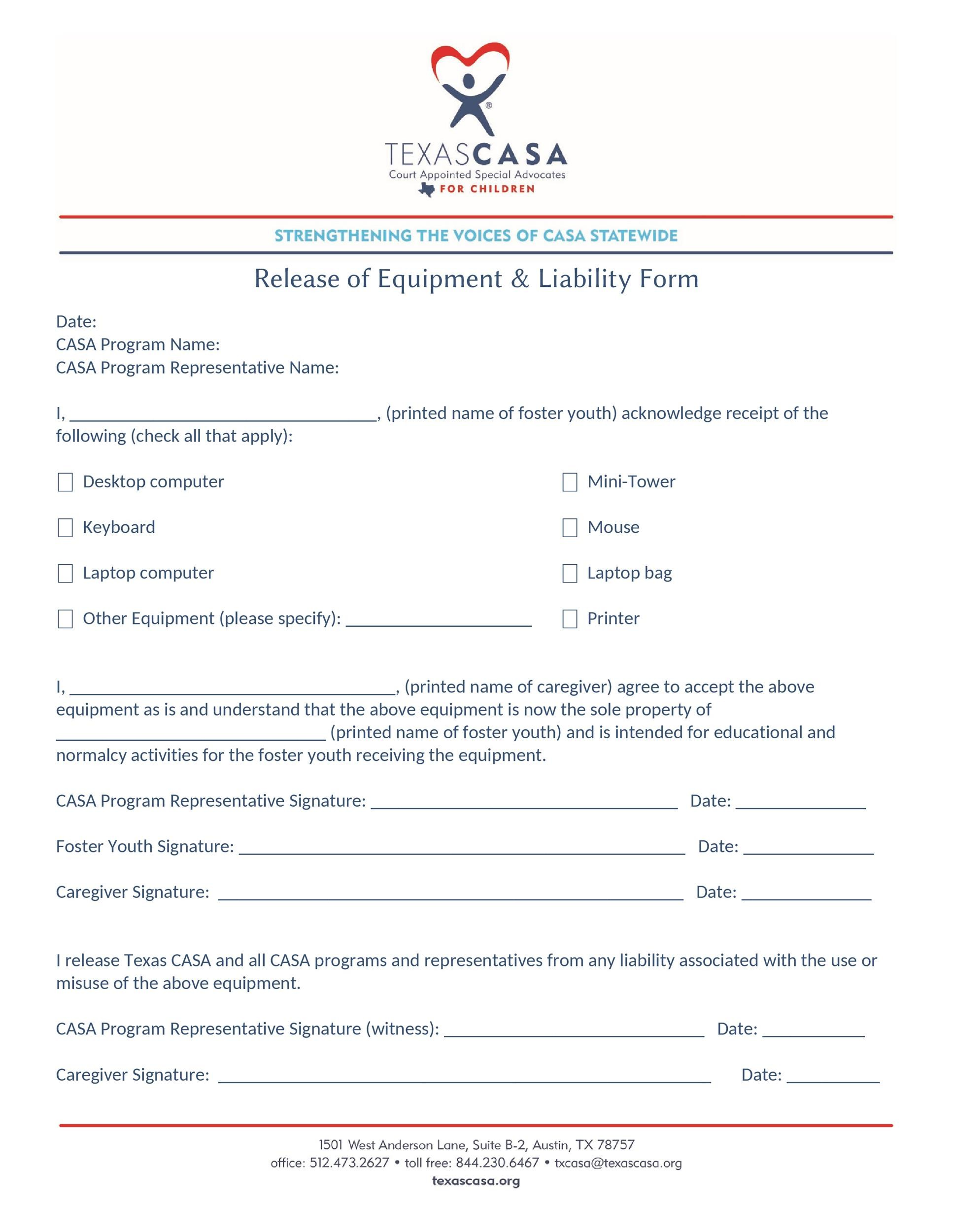 Free release of liability form 49